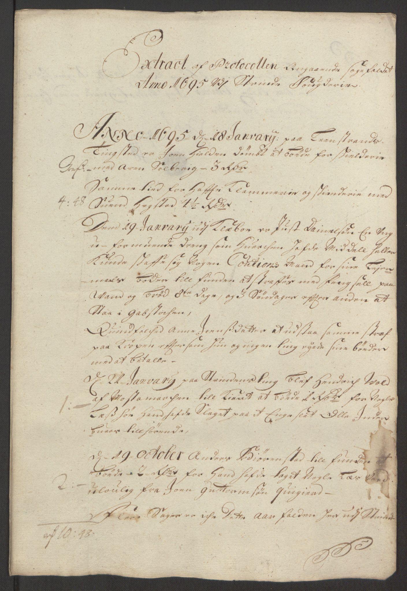 RA, Rentekammeret inntil 1814, Reviderte regnskaper, Fogderegnskap, R61/L4105: Fogderegnskap Strinda og Selbu, 1695, s. 101