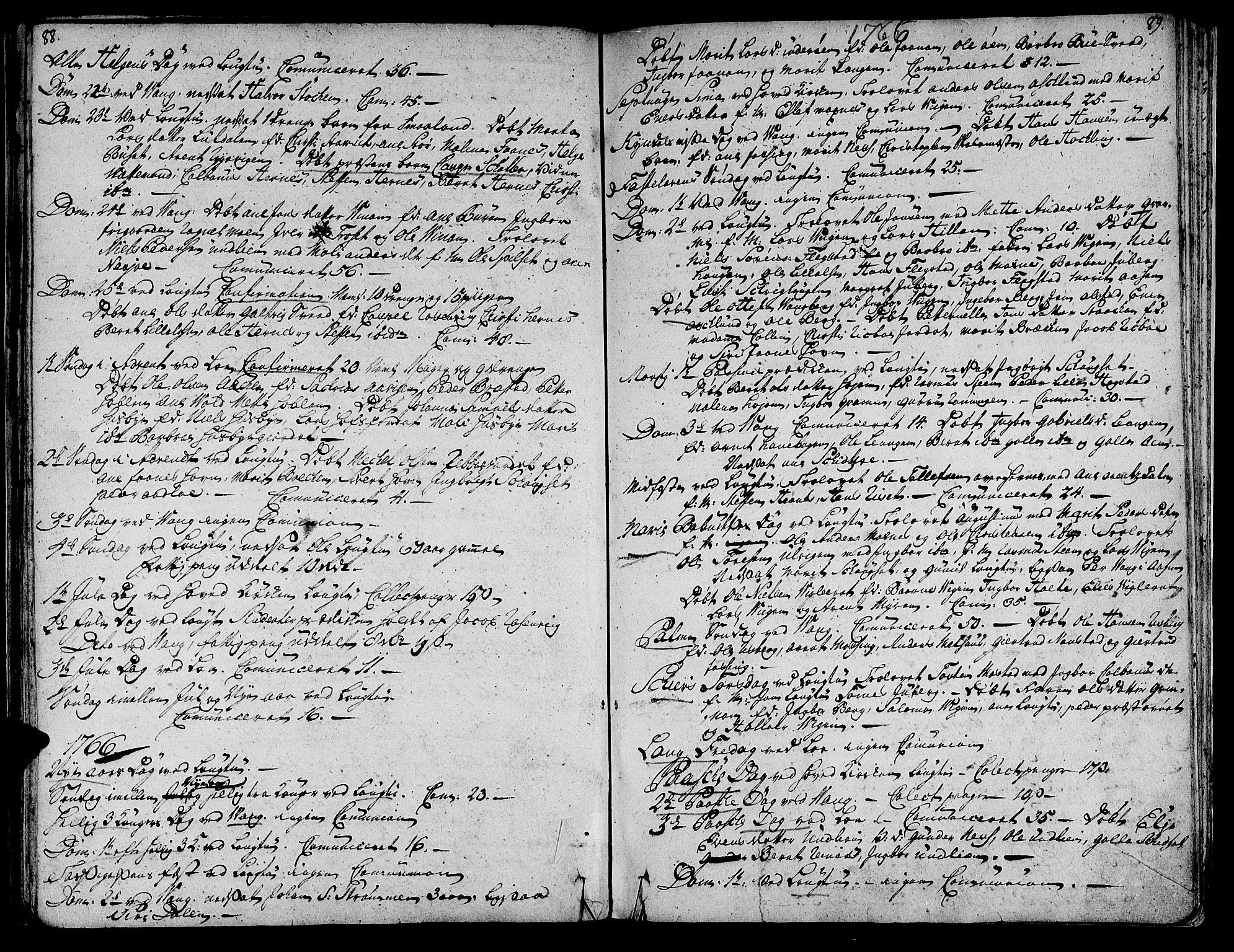 SAT, Ministerialprotokoller, klokkerbøker og fødselsregistre - Nord-Trøndelag, 713/L0109: Ministerialbok nr. 713A01, 1750-1778, s. 88-89