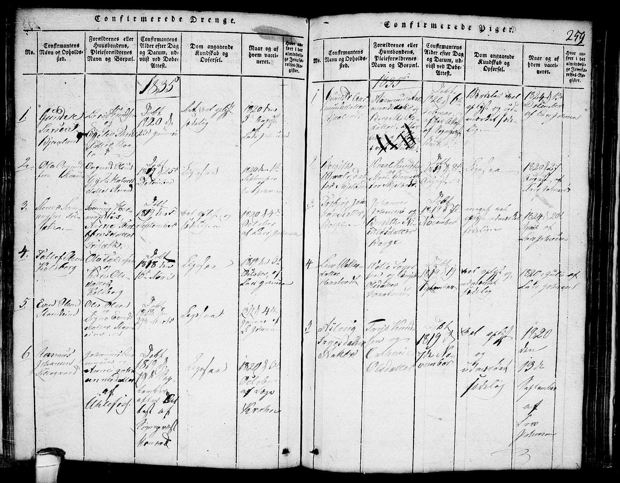 SAKO, Lårdal kirkebøker, G/Ga/L0001: Klokkerbok nr. I 1, 1815-1861, s. 259