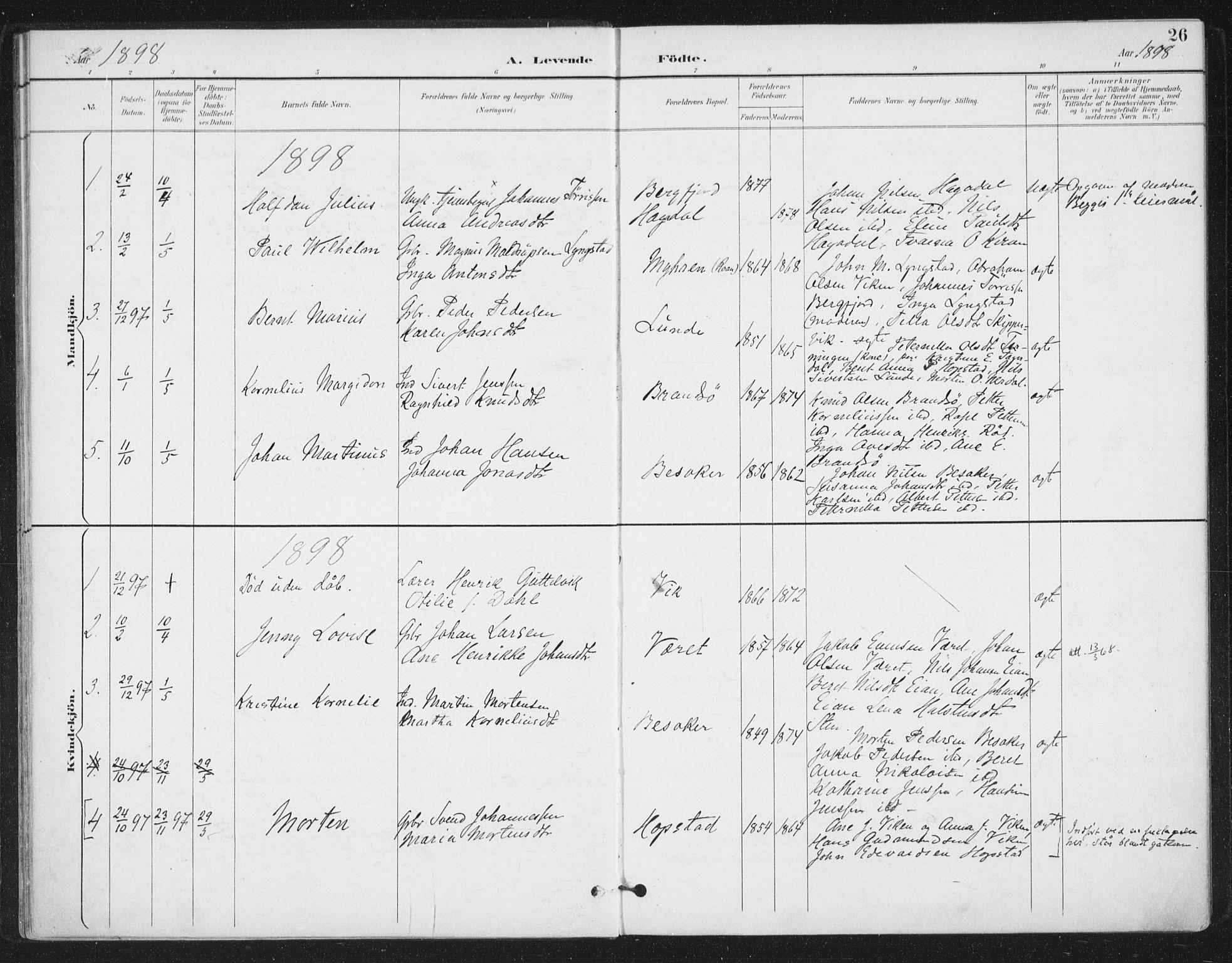 SAT, Ministerialprotokoller, klokkerbøker og fødselsregistre - Sør-Trøndelag, 657/L0708: Ministerialbok nr. 657A09, 1894-1904, s. 26