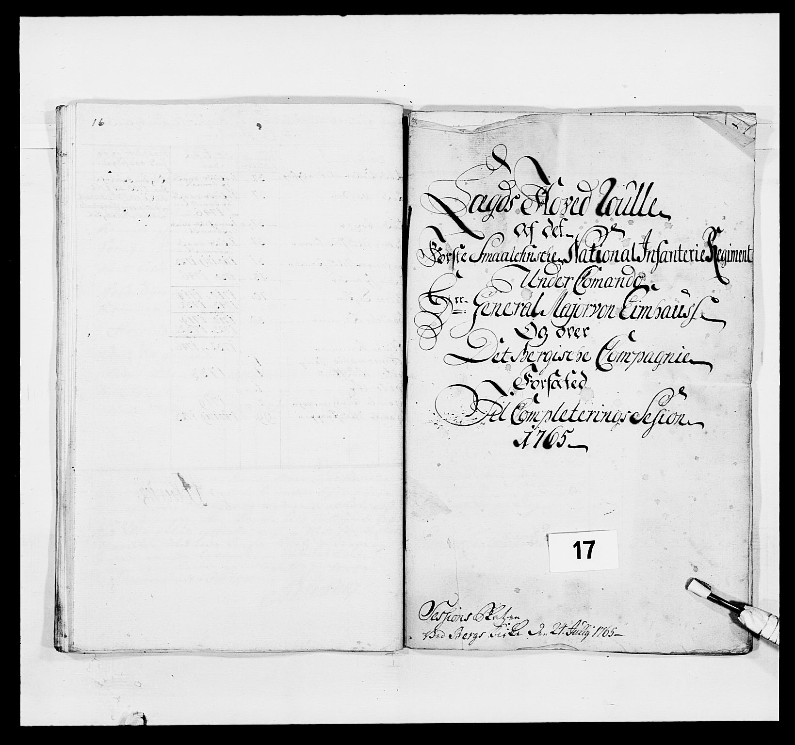 RA, Kommanderende general (KG I) med Det norske krigsdirektorium, E/Ea/L0496: 1. Smålenske regiment, 1765-1767, s. 227