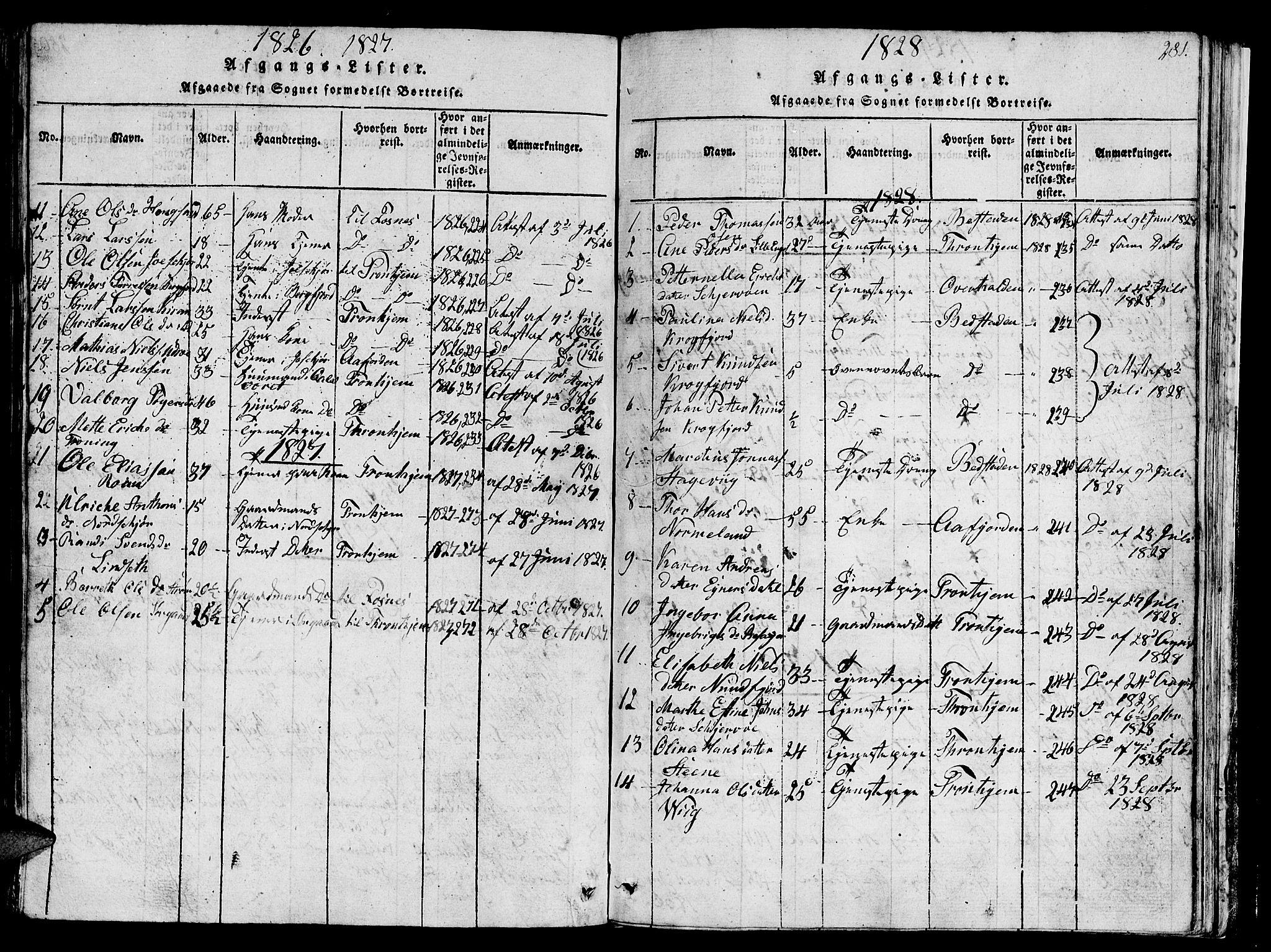 SAT, Ministerialprotokoller, klokkerbøker og fødselsregistre - Sør-Trøndelag, 657/L0714: Klokkerbok nr. 657C01, 1818-1868, s. 281