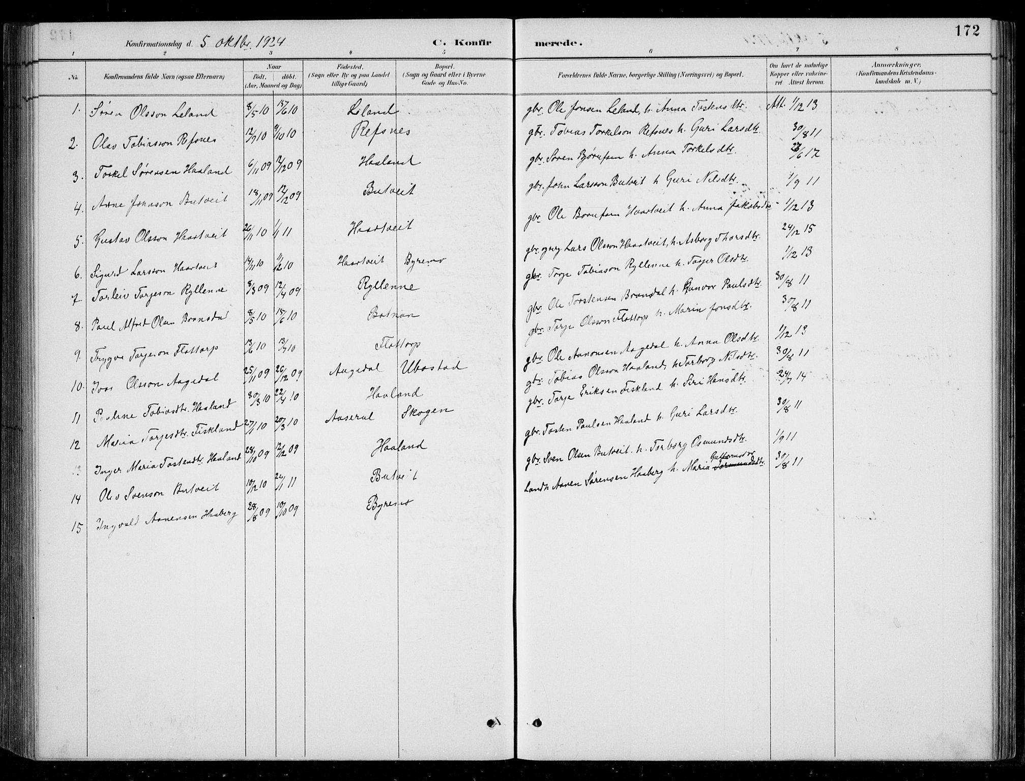 SAK, Bjelland sokneprestkontor, F/Fb/Fbc/L0003: Klokkerbok nr. B 3, 1887-1924, s. 172
