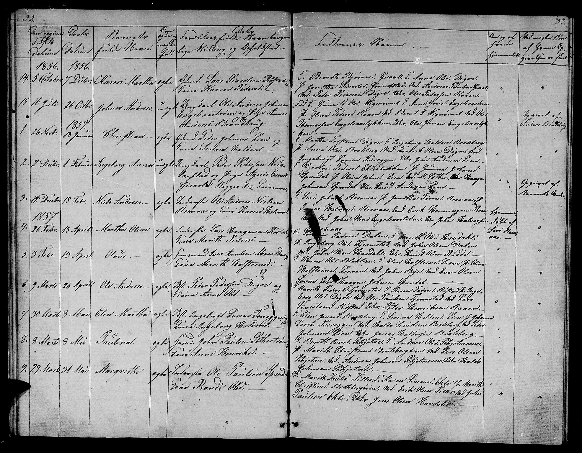 SAT, Ministerialprotokoller, klokkerbøker og fødselsregistre - Sør-Trøndelag, 608/L0339: Klokkerbok nr. 608C05, 1844-1863, s. 32-33