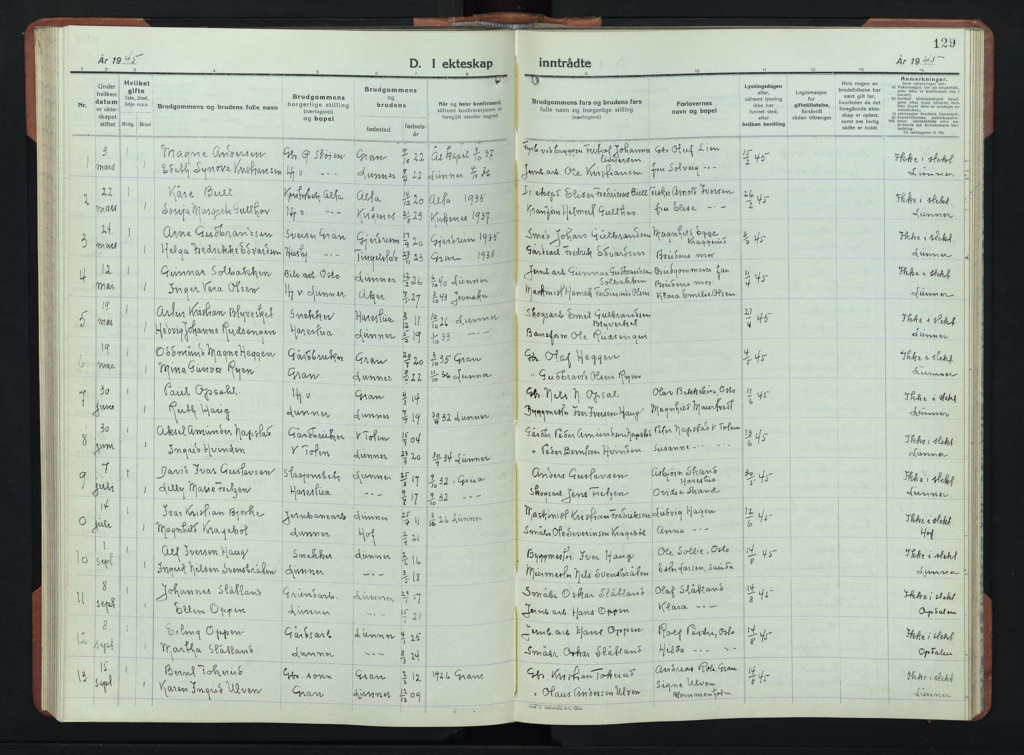 SAH, Lunner prestekontor, H/Ha/Hab/L0004: Klokkerbok nr. 4, 1943-1952, s. 129
