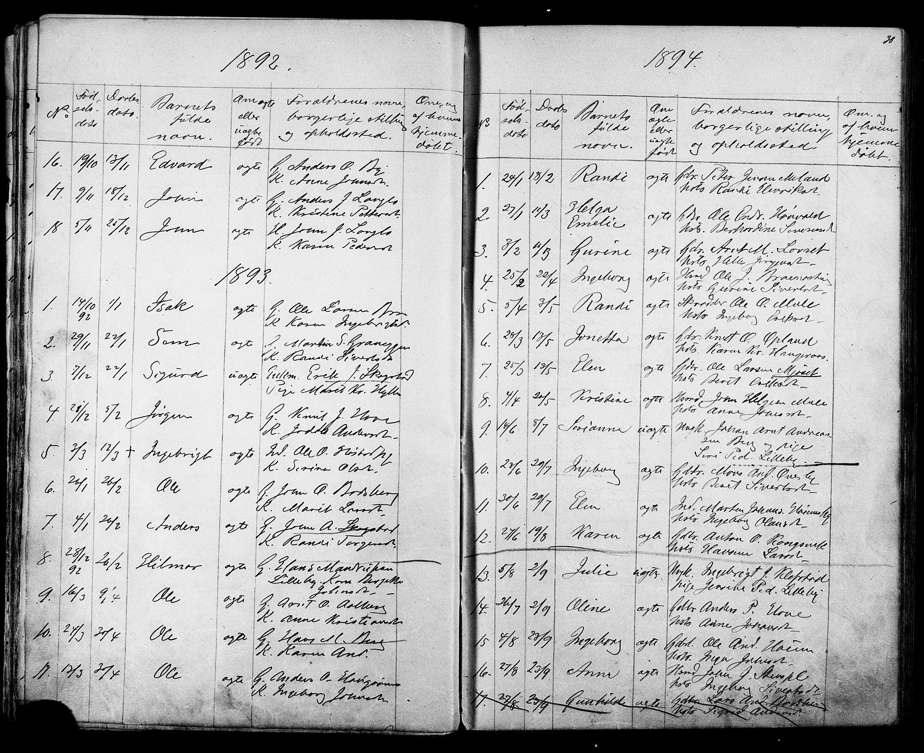 SAT, Ministerialprotokoller, klokkerbøker og fødselsregistre - Sør-Trøndelag, 612/L0387: Klokkerbok nr. 612C03, 1874-1908, s. 38