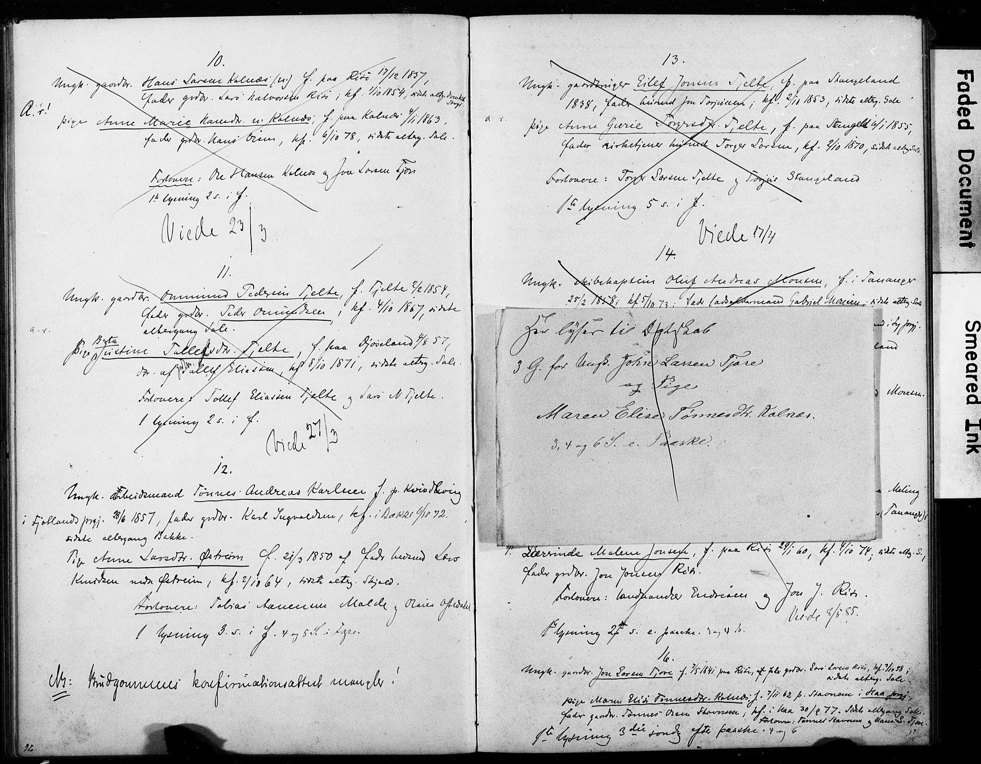 SAST, Håland sokneprestkontor, 705BA/L0001: Lysningsprotokoll nr. 705BA1, 1859-1887