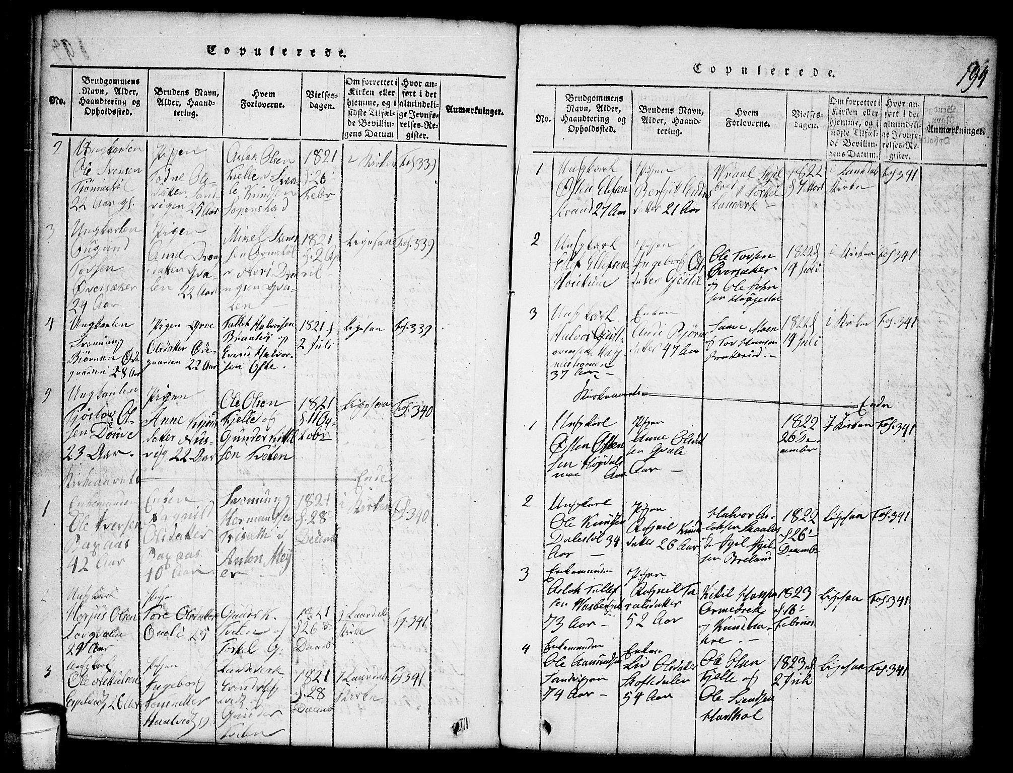SAKO, Lårdal kirkebøker, G/Gc/L0001: Klokkerbok nr. III 1, 1815-1854, s. 194