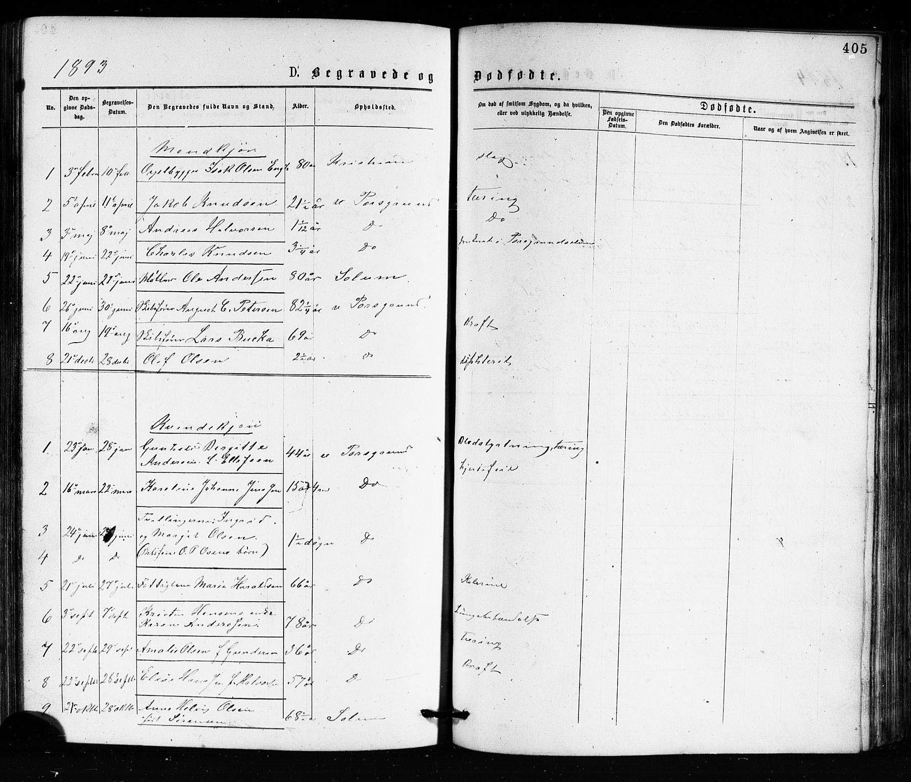 SAKO, Porsgrunn kirkebøker , G/Ga/L0003: Klokkerbok nr. I 3, 1877-1915, s. 405
