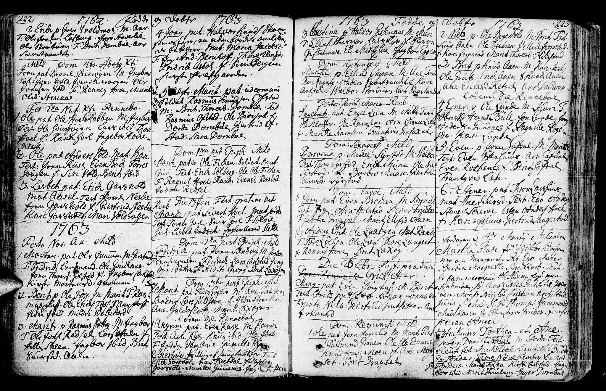 SAT, Ministerialprotokoller, klokkerbøker og fødselsregistre - Sør-Trøndelag, 672/L0851: Ministerialbok nr. 672A04, 1751-1775, s. 222-223