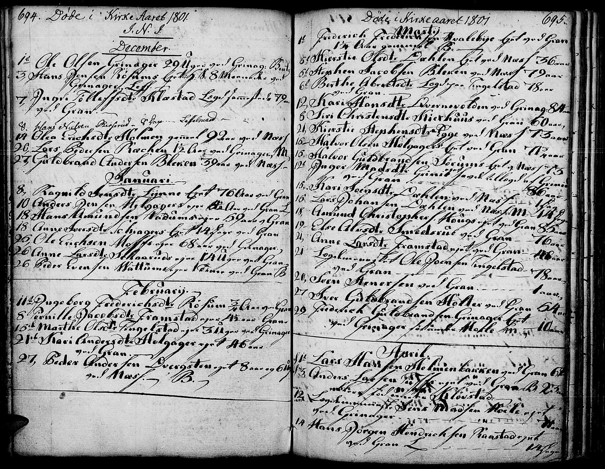 SAH, Gran prestekontor, Ministerialbok nr. 6, 1787-1824, s. 694-695