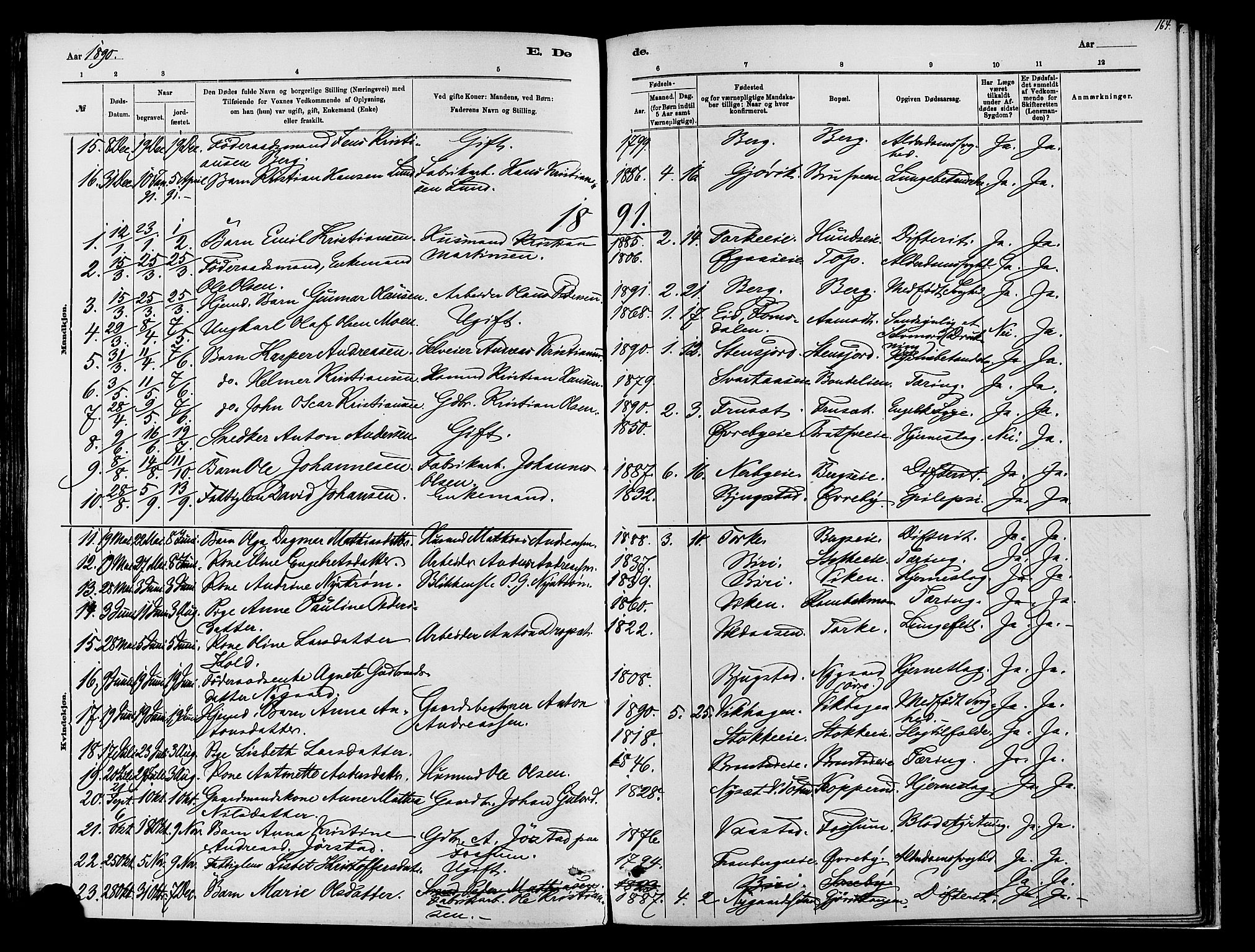 SAH, Vardal prestekontor, H/Ha/Haa/L0009: Ministerialbok nr. 9, 1878-1892, s. 164