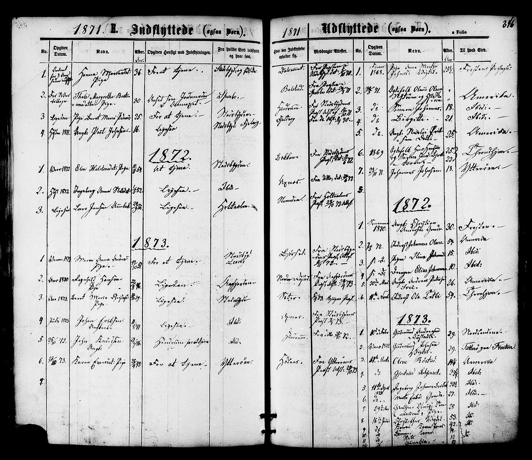 SAT, Ministerialprotokoller, klokkerbøker og fødselsregistre - Nord-Trøndelag, 701/L0009: Ministerialbok nr. 701A09 /1, 1864-1882, s. 346