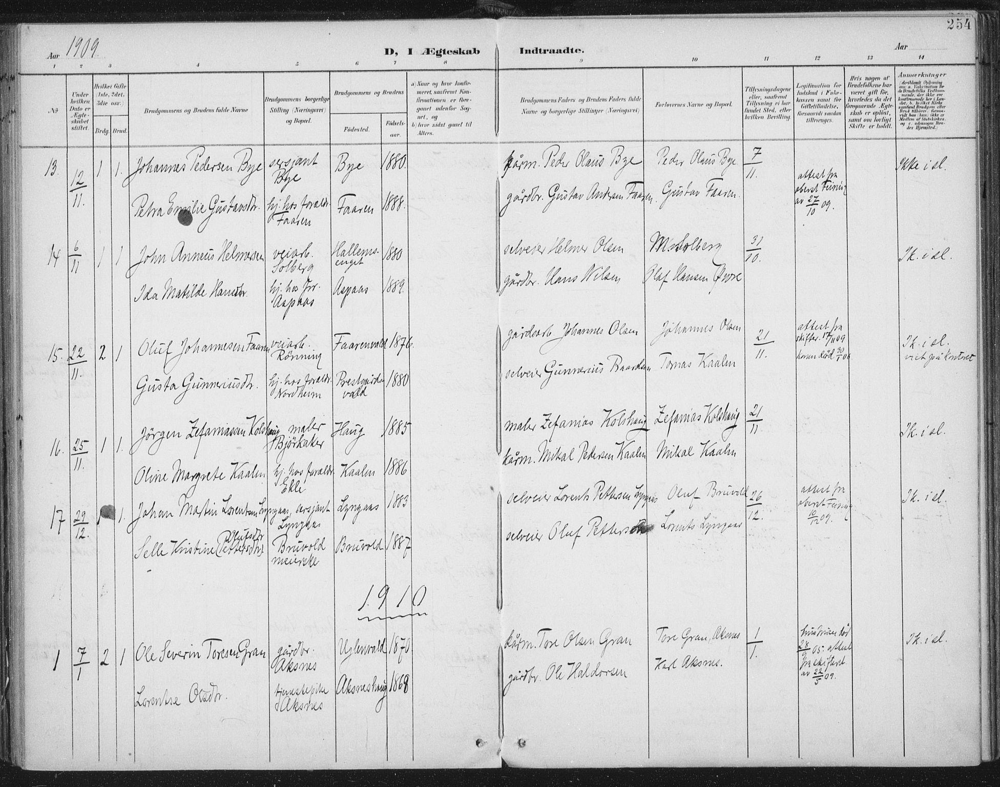 SAT, Ministerialprotokoller, klokkerbøker og fødselsregistre - Nord-Trøndelag, 723/L0246: Ministerialbok nr. 723A15, 1900-1917, s. 254