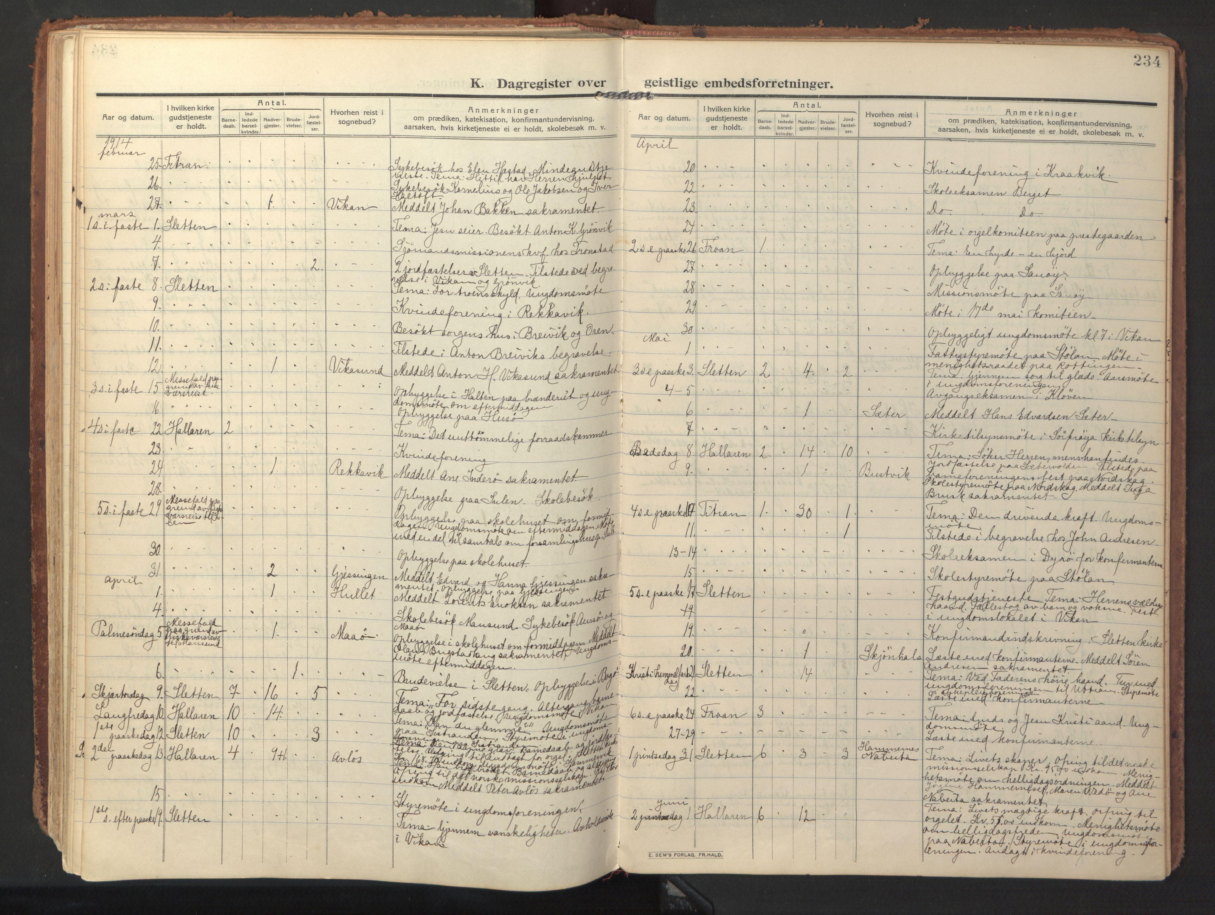 SAT, Ministerialprotokoller, klokkerbøker og fødselsregistre - Sør-Trøndelag, 640/L0581: Ministerialbok nr. 640A06, 1910-1924, s. 234