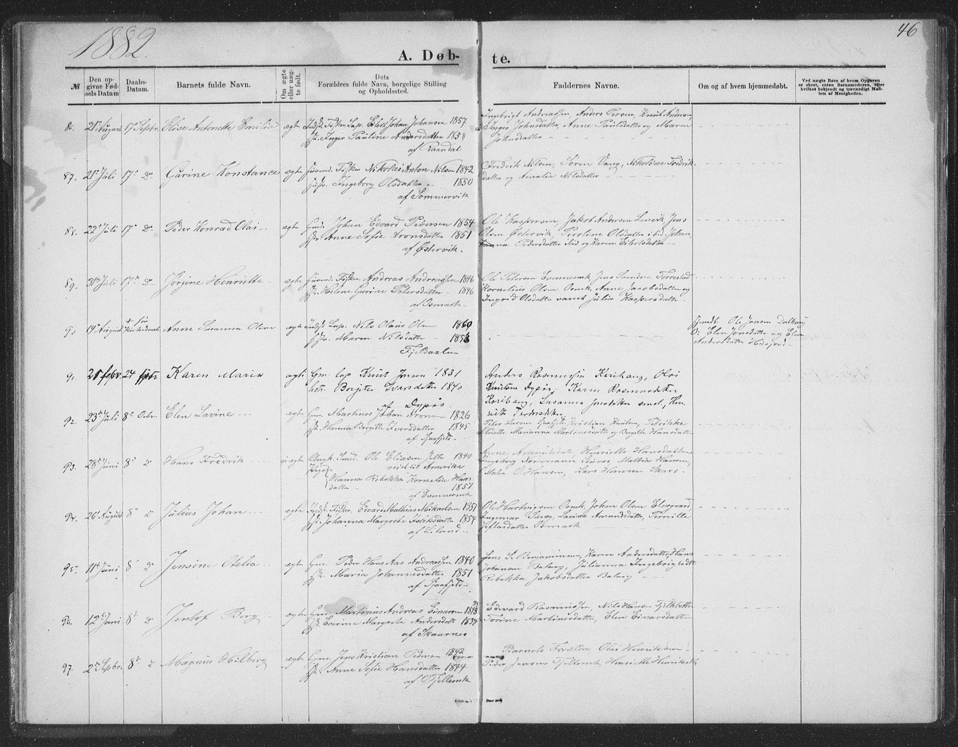 SAT, Ministerialprotokoller, klokkerbøker og fødselsregistre - Nordland, 863/L0913: Klokkerbok nr. 863C03, 1877-1885, s. 46