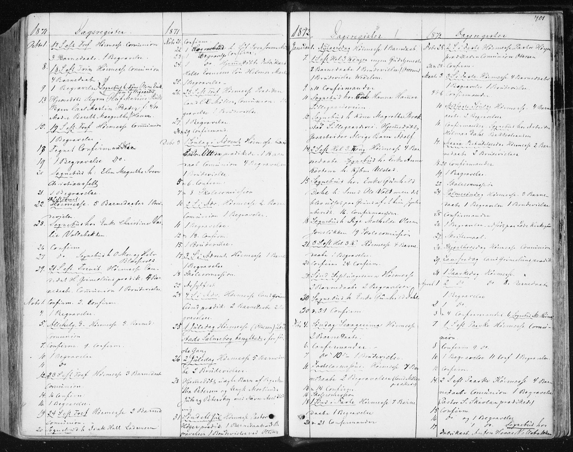 SAT, Ministerialprotokoller, klokkerbøker og fødselsregistre - Sør-Trøndelag, 604/L0186: Ministerialbok nr. 604A07, 1866-1877, s. 701
