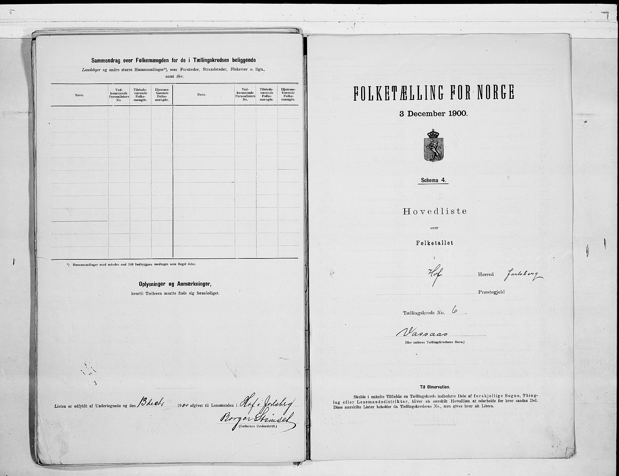 RA, Folketelling 1900 for 0714 Hof herred, 1900, s. 16
