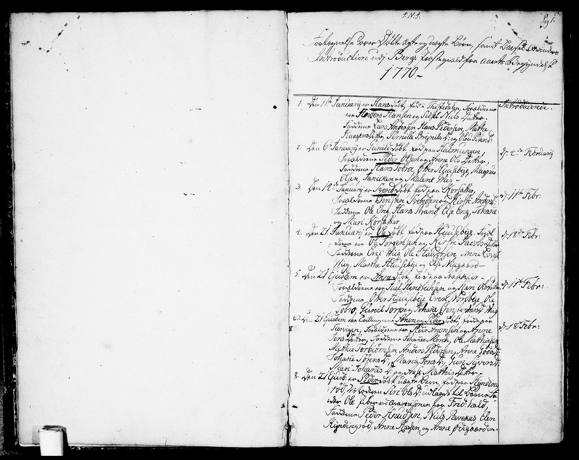 SAO, Berg prestekontor Kirkebøker, F/Fa/L0001: Ministerialbok nr. I 1, 1770-1814, s. 1