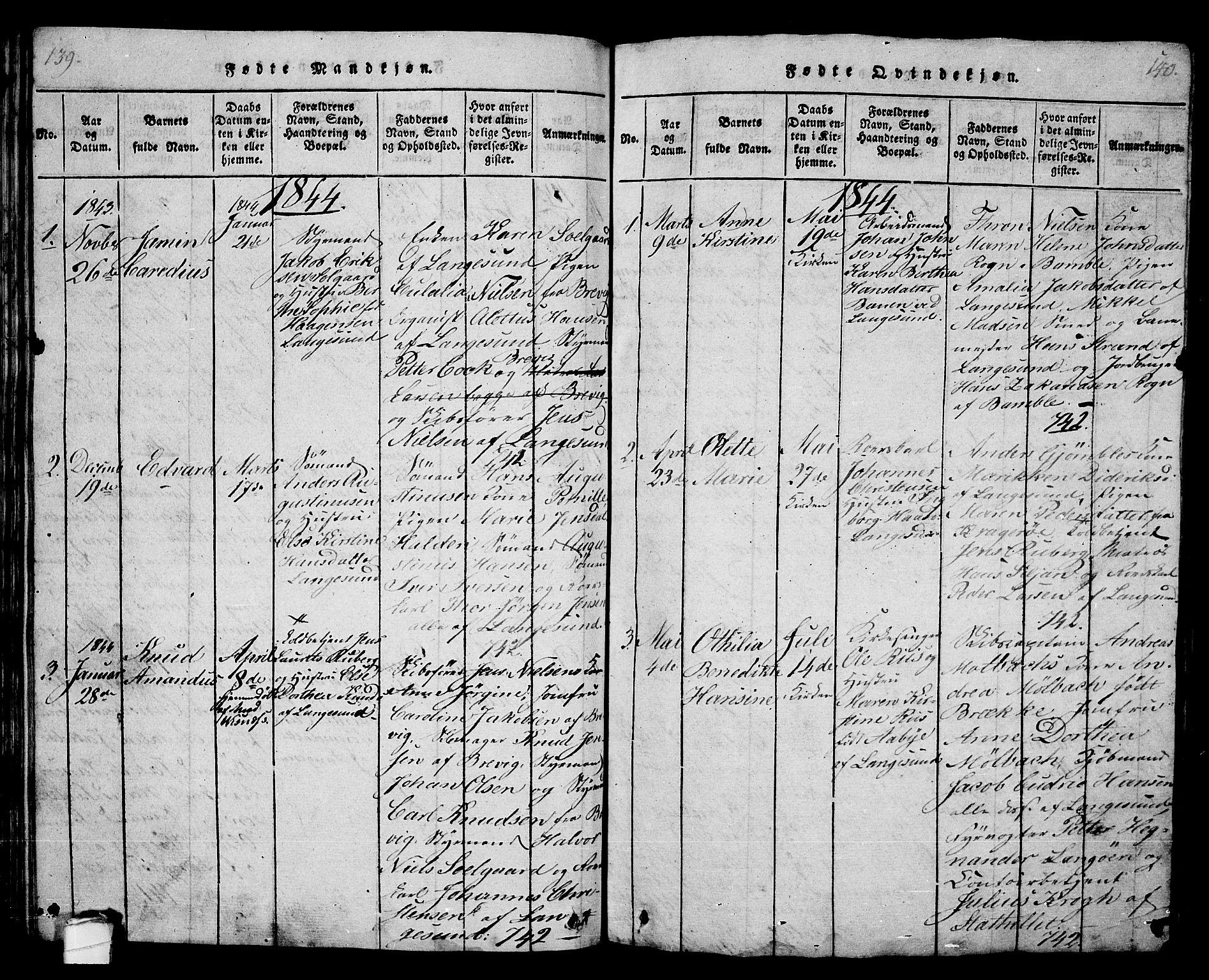 SAKO, Langesund kirkebøker, G/Ga/L0003: Klokkerbok nr. 3, 1815-1858, s. 139-140