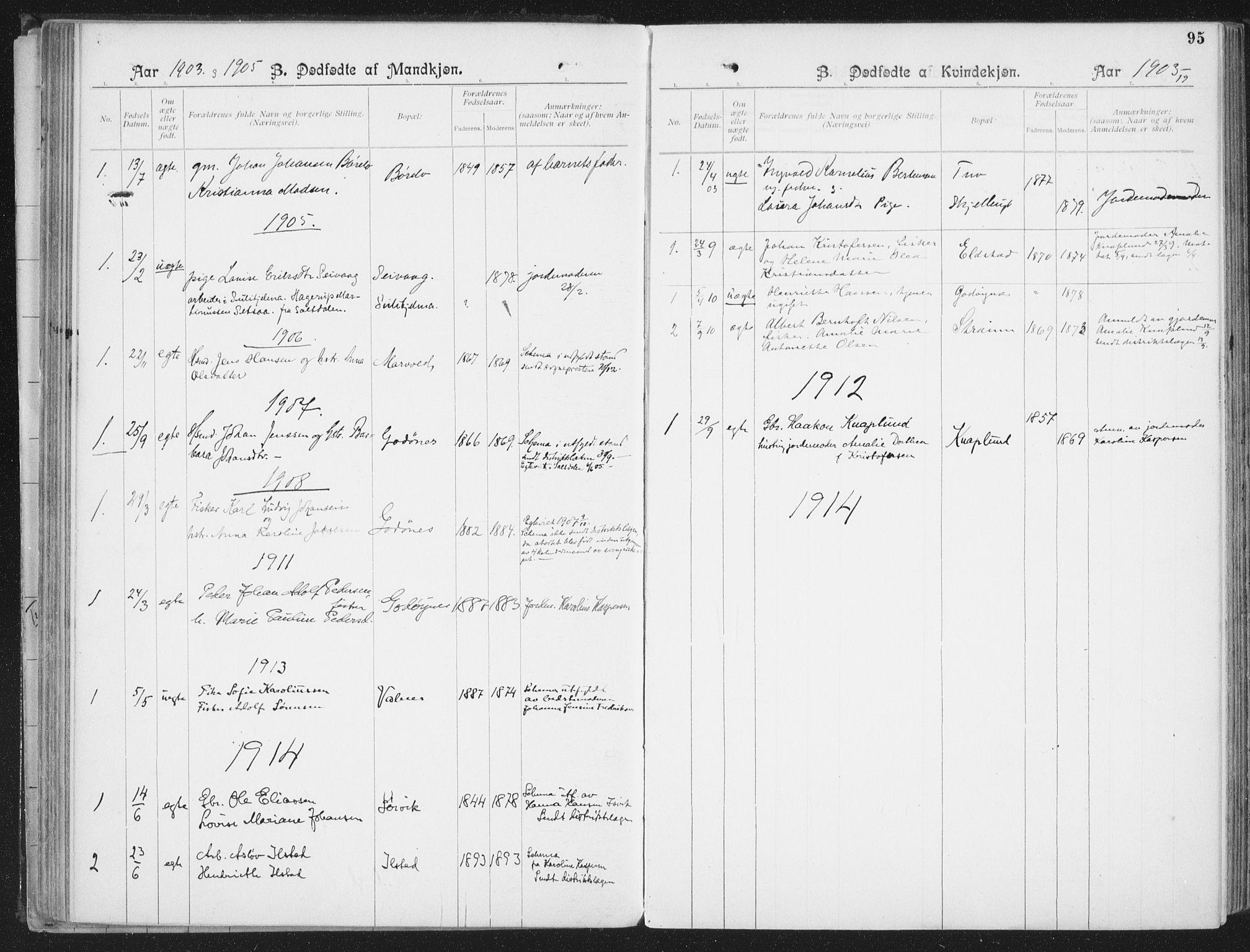 SAT, Ministerialprotokoller, klokkerbøker og fødselsregistre - Nordland, 804/L0081: Ministerialbok nr. 804A02, 1901-1915, s. 95