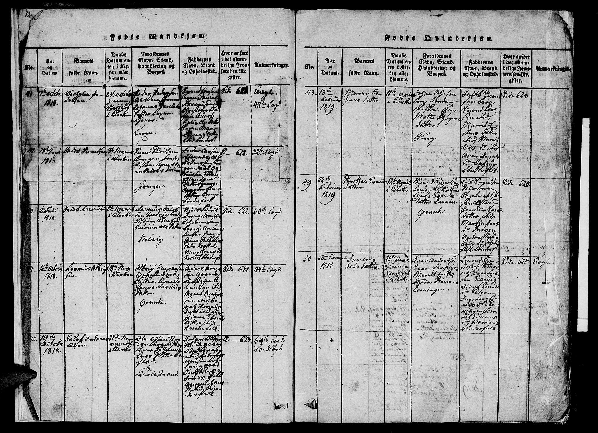 SAT, Ministerialprotokoller, klokkerbøker og fødselsregistre - Sør-Trøndelag, 659/L0744: Klokkerbok nr. 659C01, 1818-1825, s. 18-19