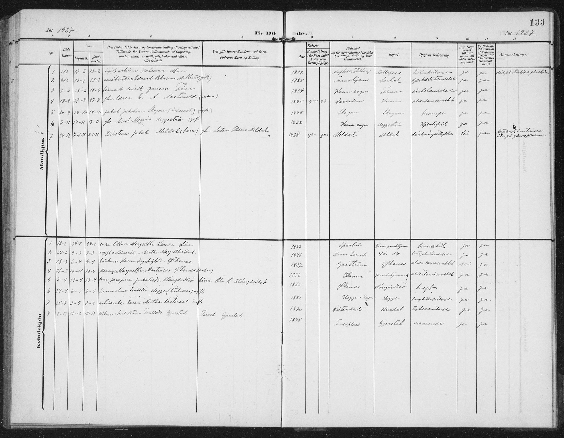 SAT, Ministerialprotokoller, klokkerbøker og fødselsregistre - Nord-Trøndelag, 747/L0460: Klokkerbok nr. 747C02, 1908-1939, s. 133