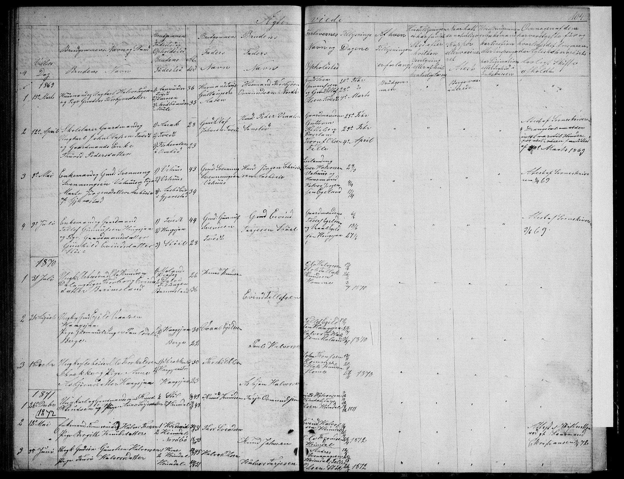 SAKO, Nissedal kirkebøker, G/Gb/L0002: Klokkerbok nr. II 2, 1863-1892, s. 104