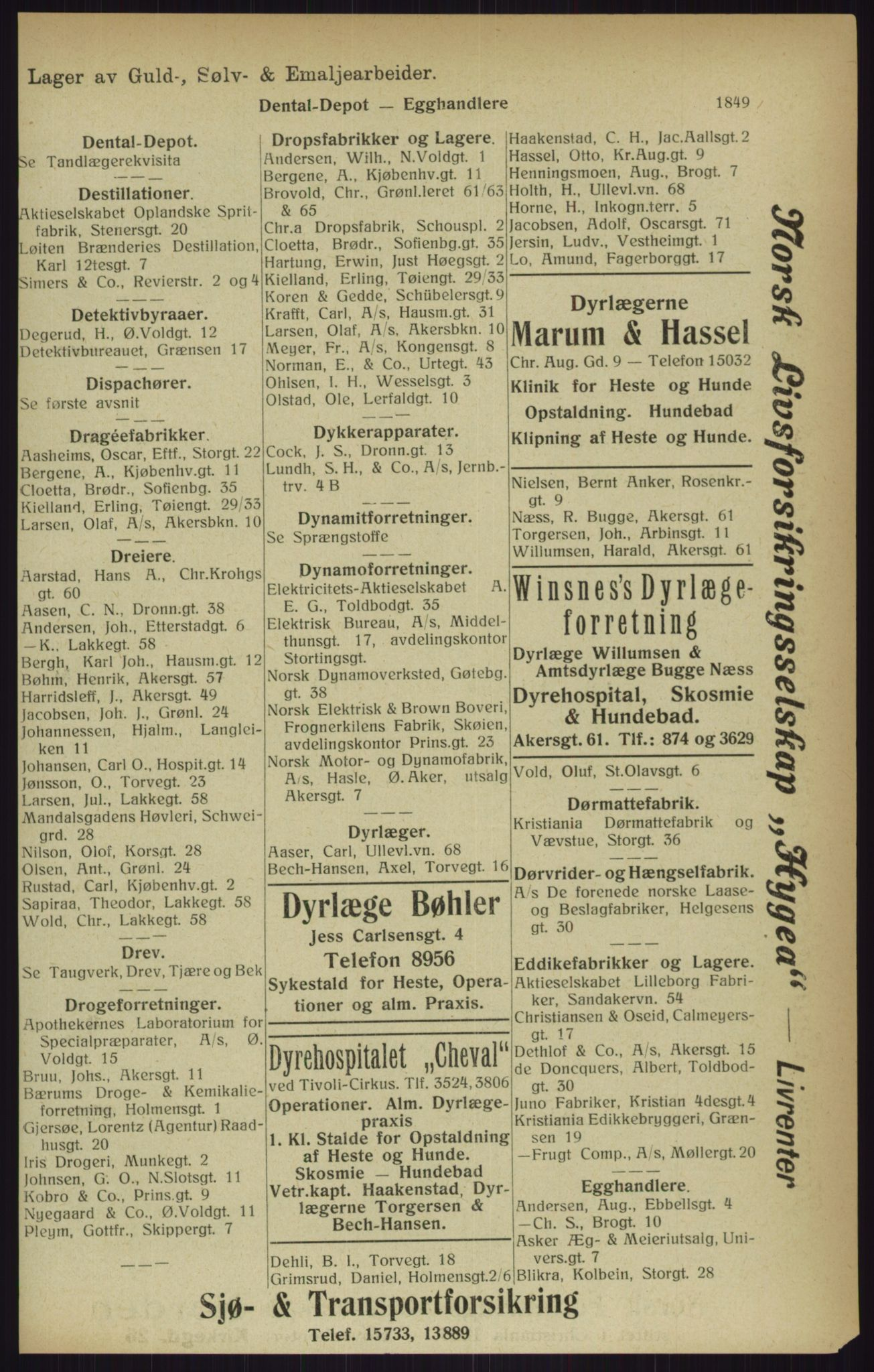RA, Kristiania adressebok (publikasjon)*, 1916, s. 1849