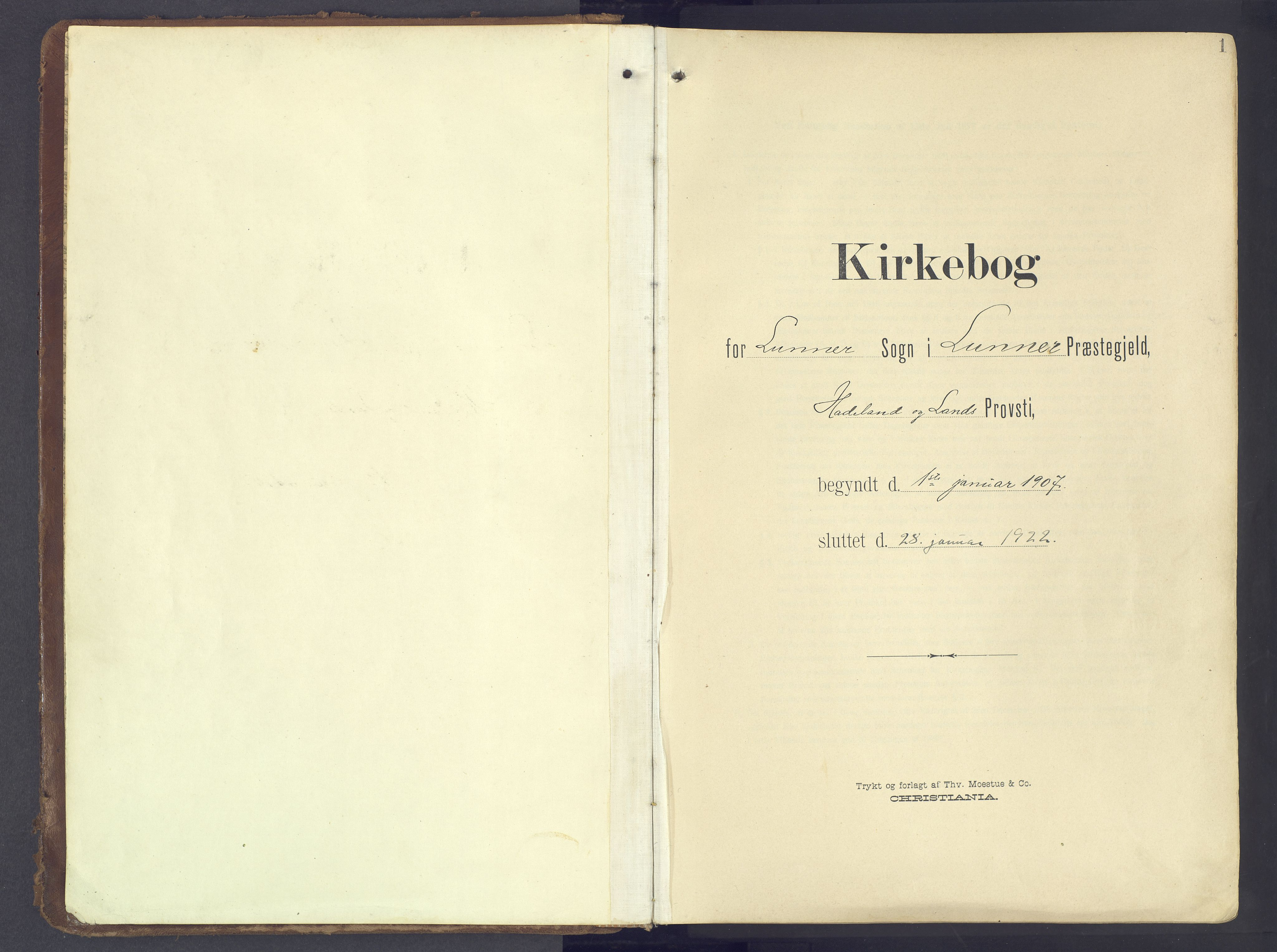 SAH, Lunner prestekontor, H/Ha/Haa/L0001: Ministerialbok nr. 1, 1907-1922, s. 1