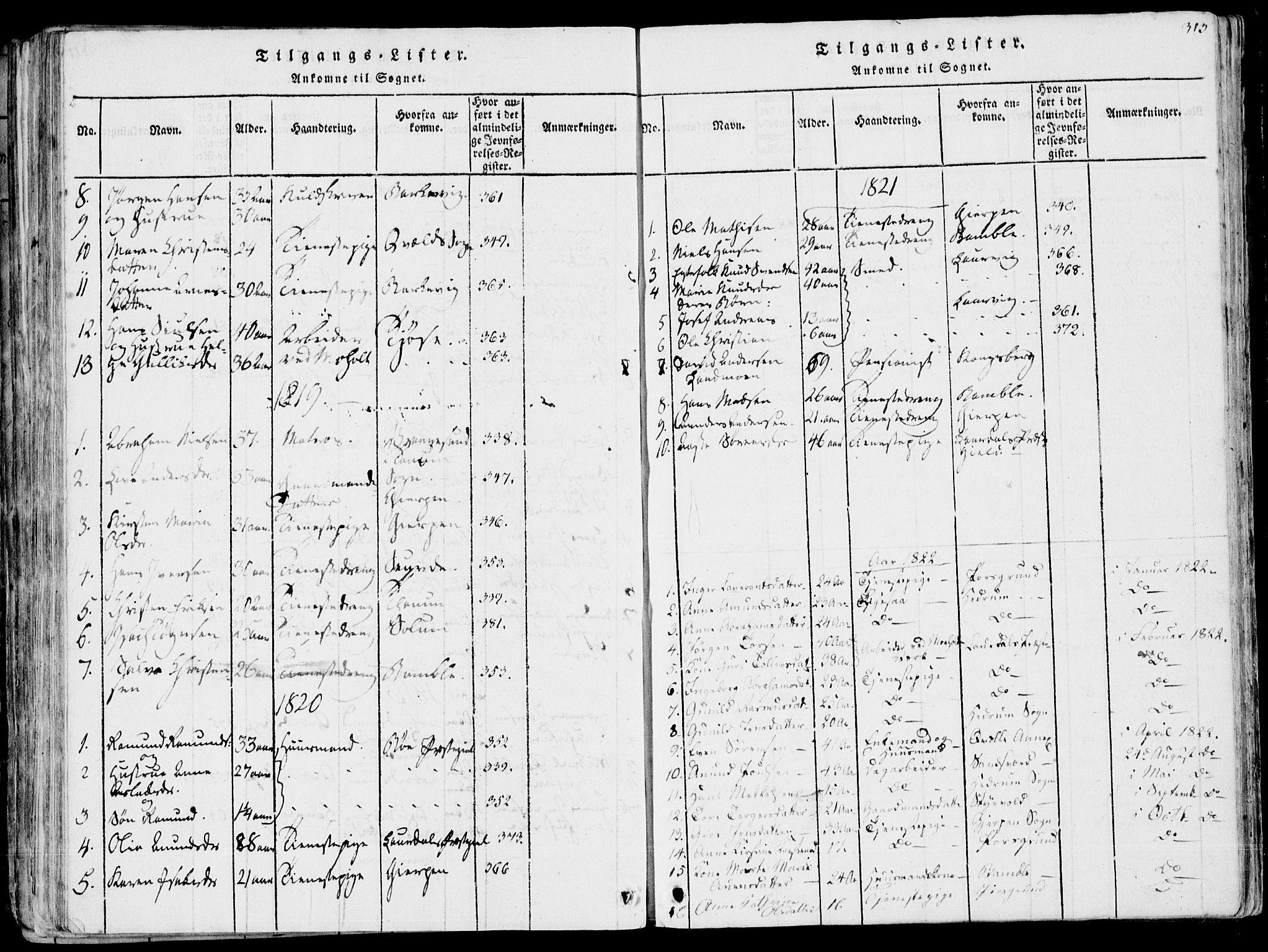 SAKO, Eidanger kirkebøker, F/Fa/L0007: Ministerialbok nr. 7, 1814-1831, s. 313