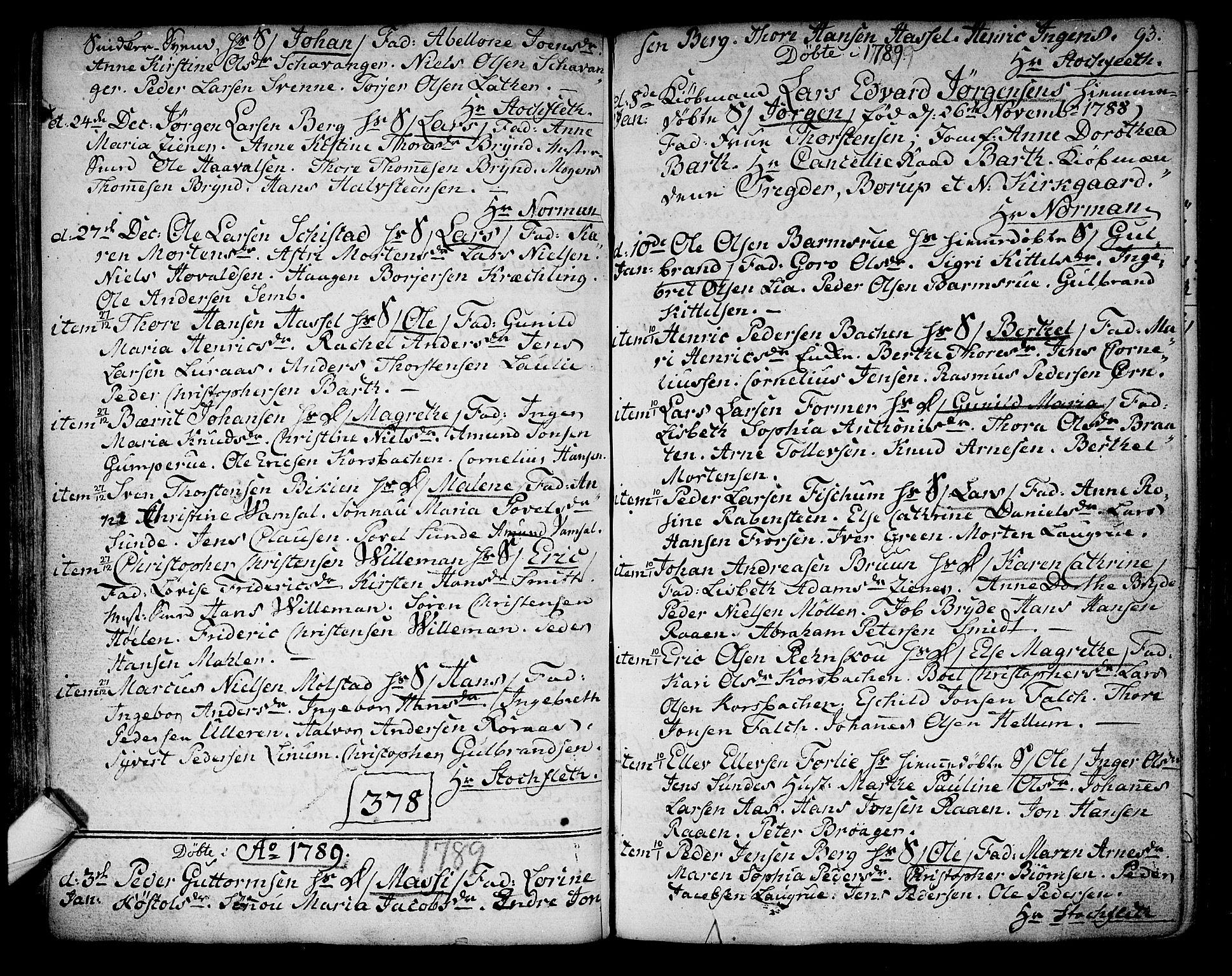 SAKO, Kongsberg kirkebøker, F/Fa/L0006: Ministerialbok nr. I 6, 1783-1797, s. 93