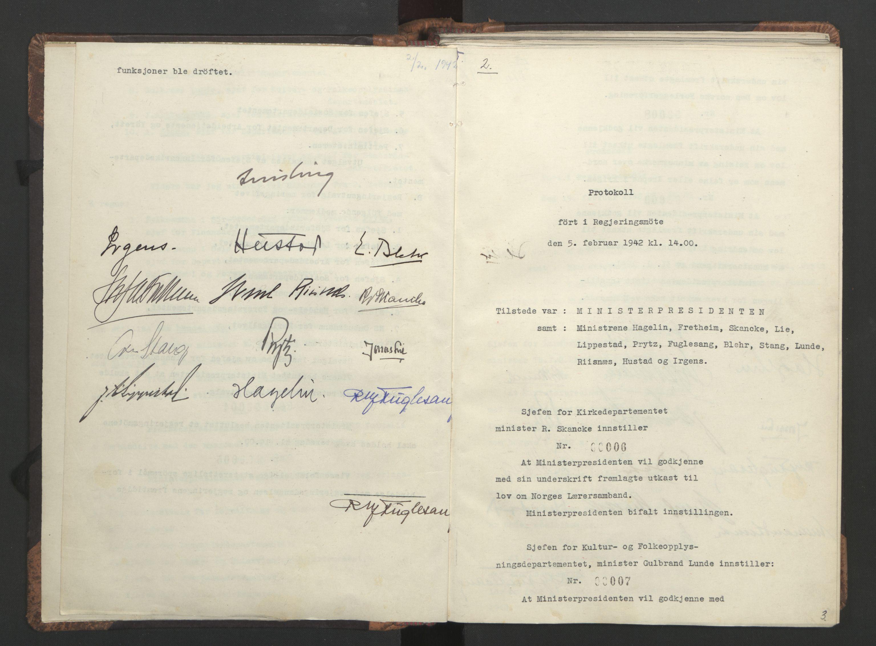 RA, NS-administrasjonen 1940-1945 (Statsrådsekretariatet, de kommisariske statsråder mm), D/Da/L0001: Beslutninger og tillegg (1-952 og 1-32), 1942, s. 2b-3a