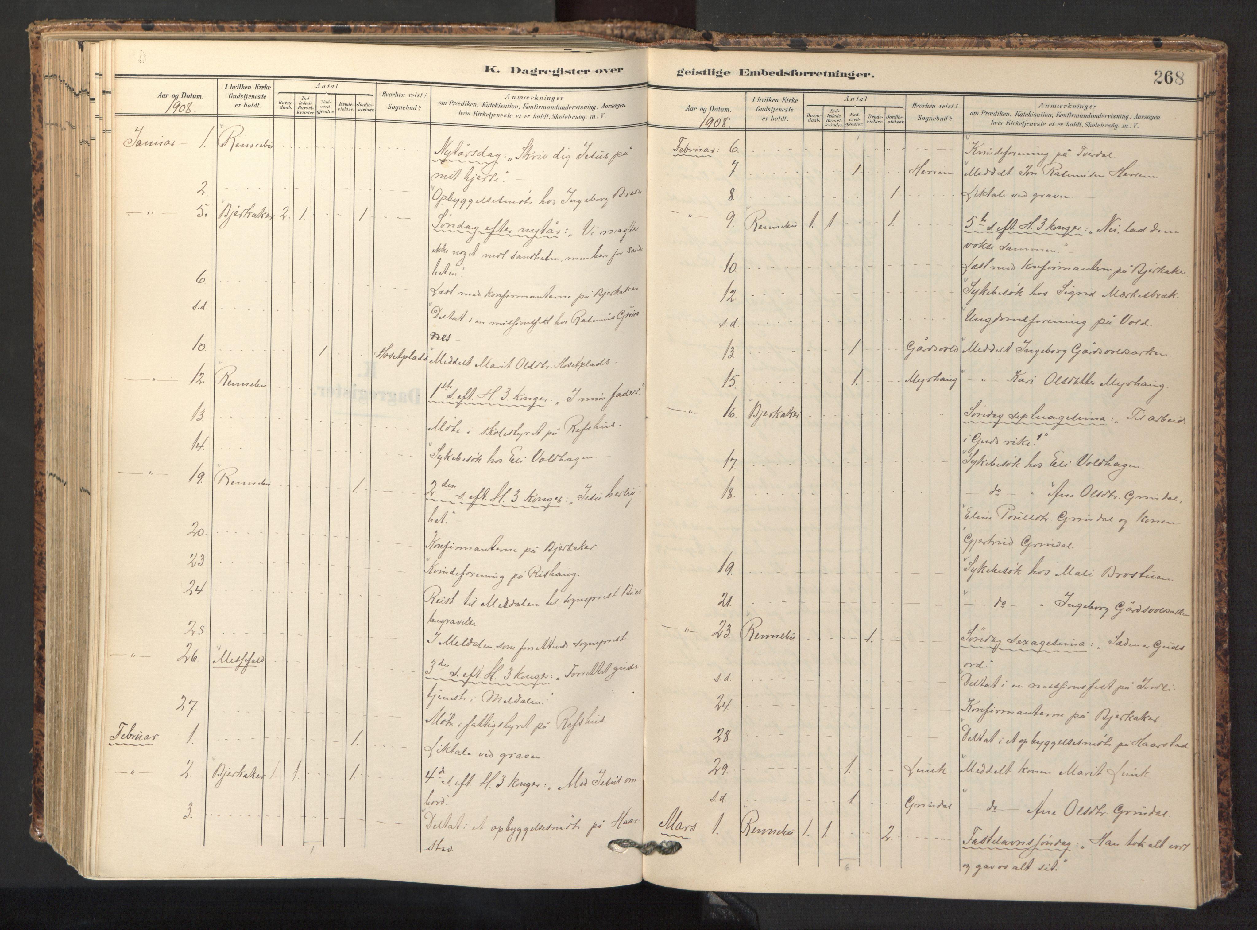 SAT, Ministerialprotokoller, klokkerbøker og fødselsregistre - Sør-Trøndelag, 674/L0873: Ministerialbok nr. 674A05, 1908-1923, s. 268