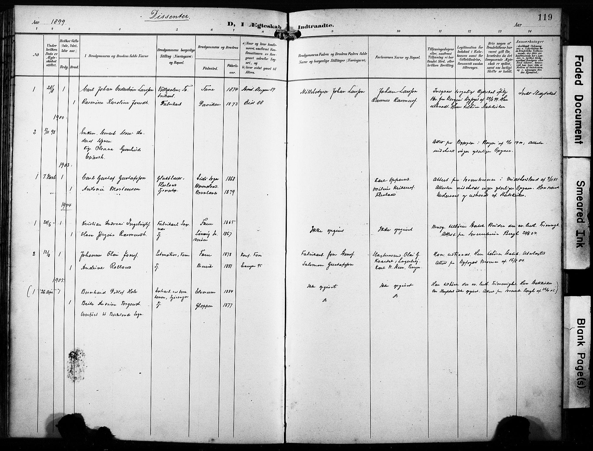 SAB, Fana Sokneprestembete, H/Haa/Haab/L0003: Ministerialbok nr. B 3, 1898-1907, s. 119