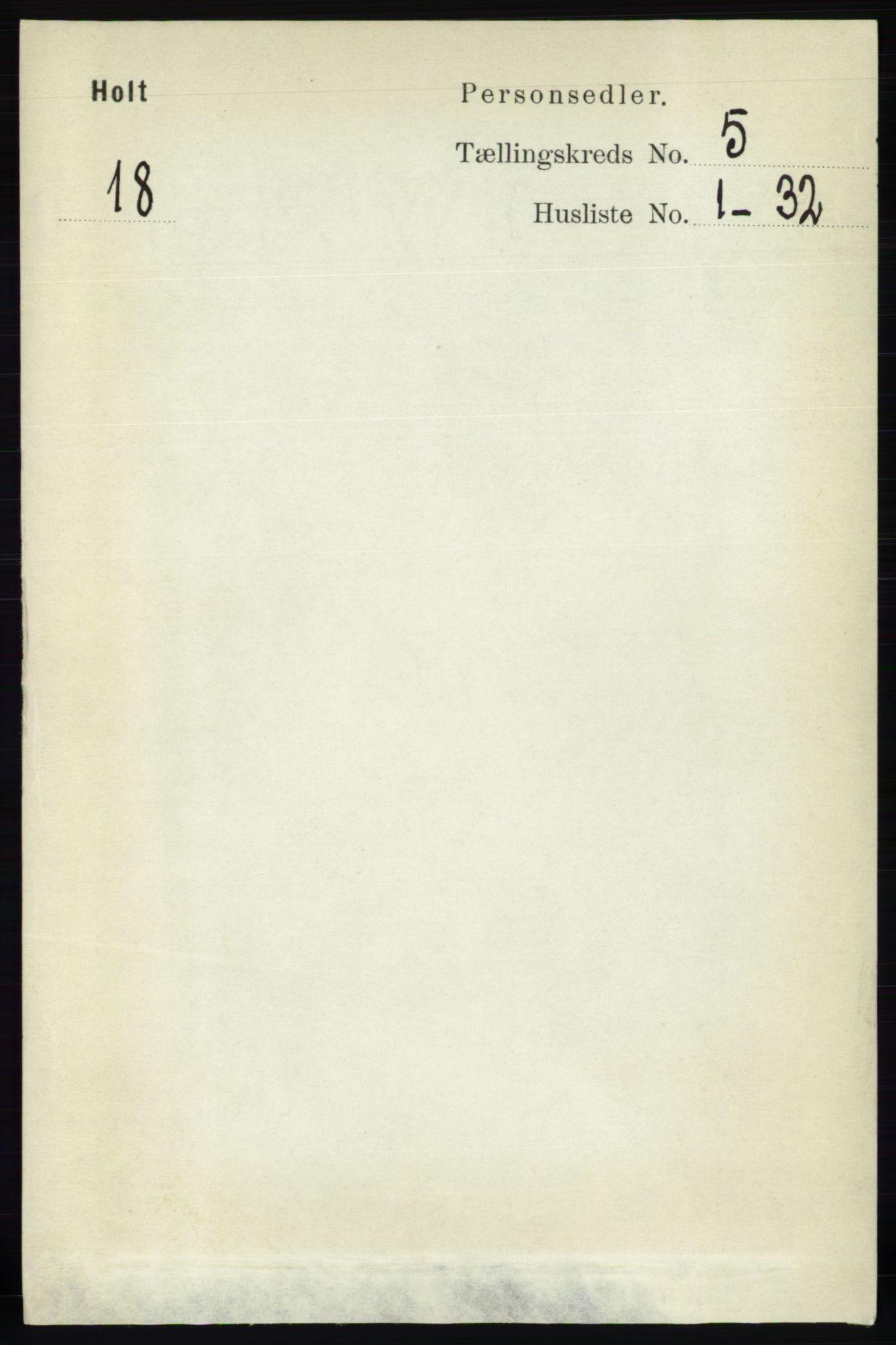 RA, Folketelling 1891 for 0914 Holt herred, 1891, s. 2331