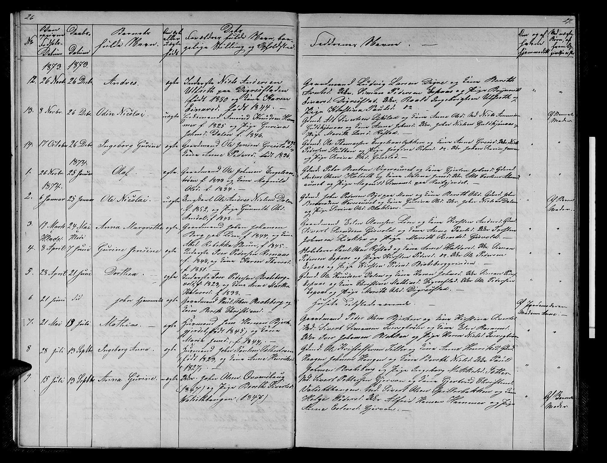 SAT, Ministerialprotokoller, klokkerbøker og fødselsregistre - Sør-Trøndelag, 608/L0340: Klokkerbok nr. 608C06, 1864-1889, s. 26-27