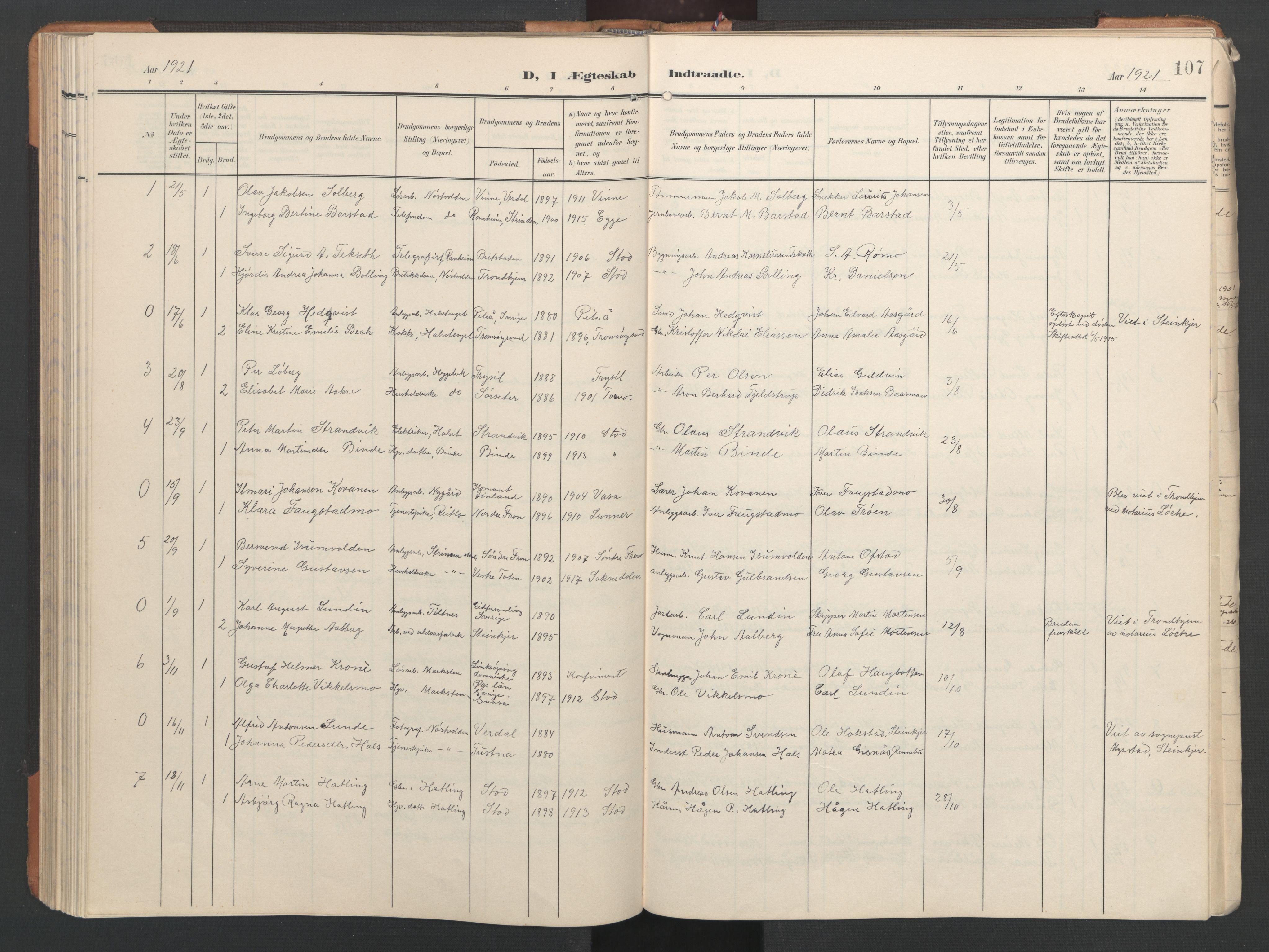 SAT, Ministerialprotokoller, klokkerbøker og fødselsregistre - Nord-Trøndelag, 746/L0455: Klokkerbok nr. 746C01, 1908-1933, s. 107