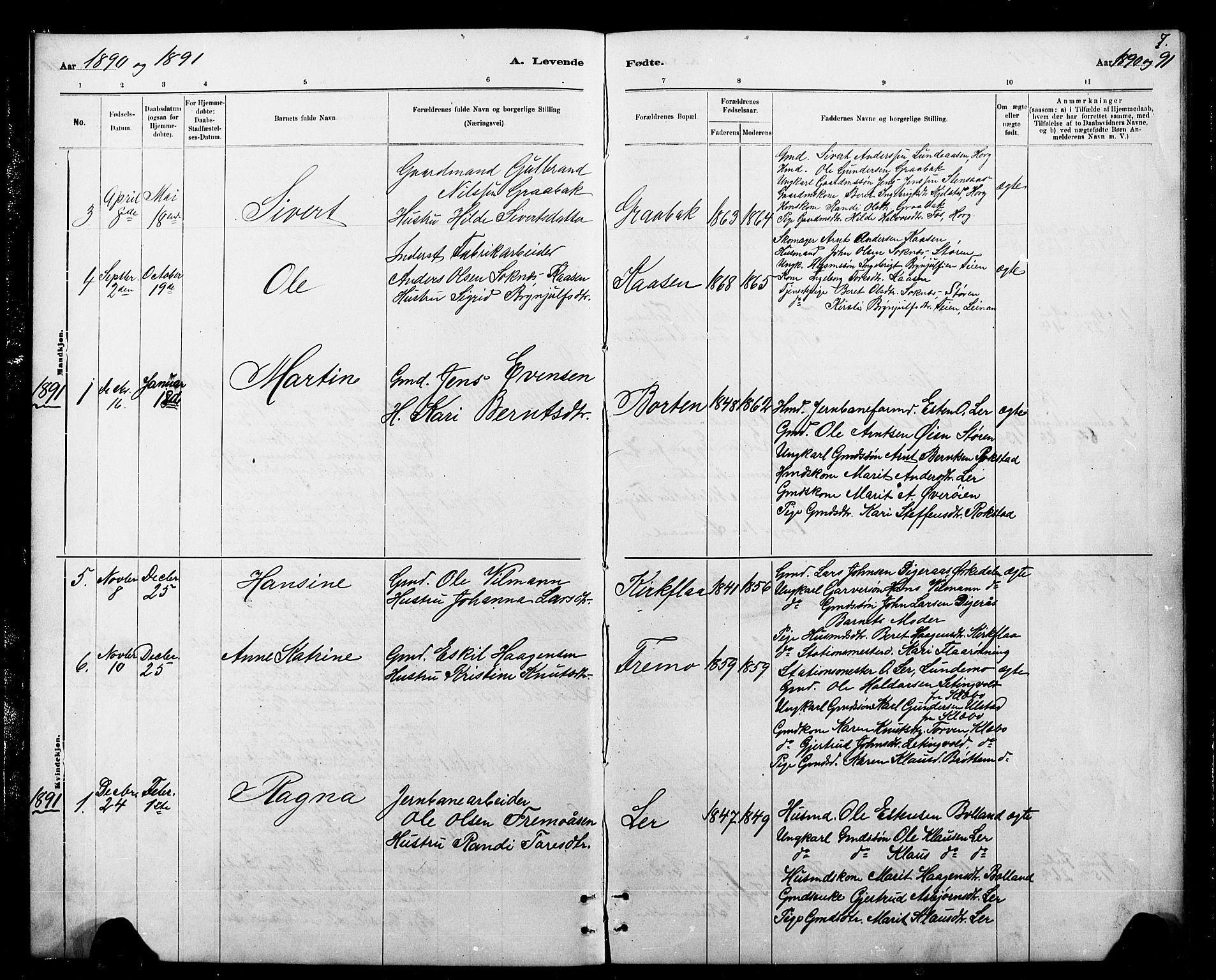 SAT, Ministerialprotokoller, klokkerbøker og fødselsregistre - Sør-Trøndelag, 693/L1123: Klokkerbok nr. 693C04, 1887-1910, s. 7