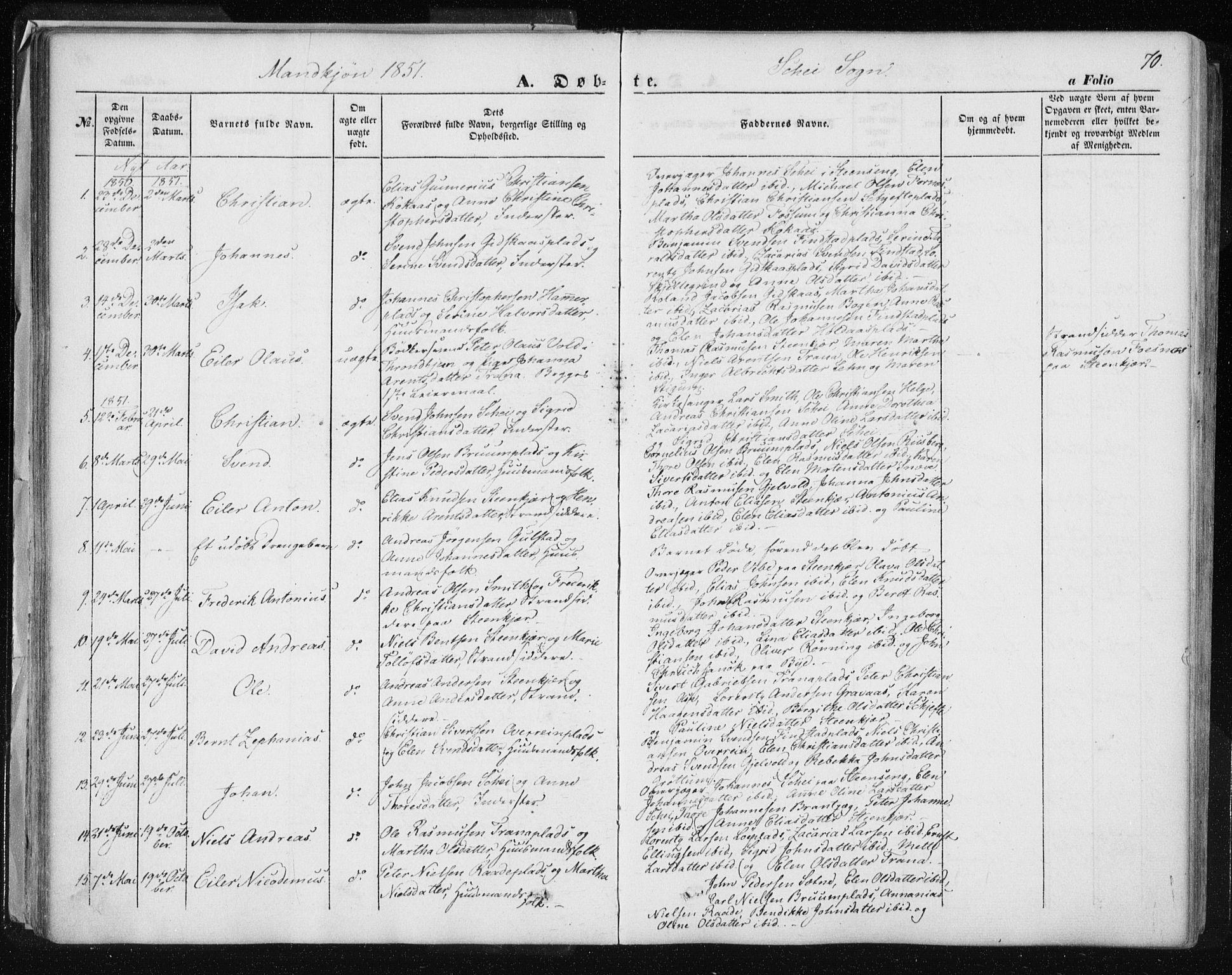 SAT, Ministerialprotokoller, klokkerbøker og fødselsregistre - Nord-Trøndelag, 735/L0342: Ministerialbok nr. 735A07 /2, 1849-1862, s. 70