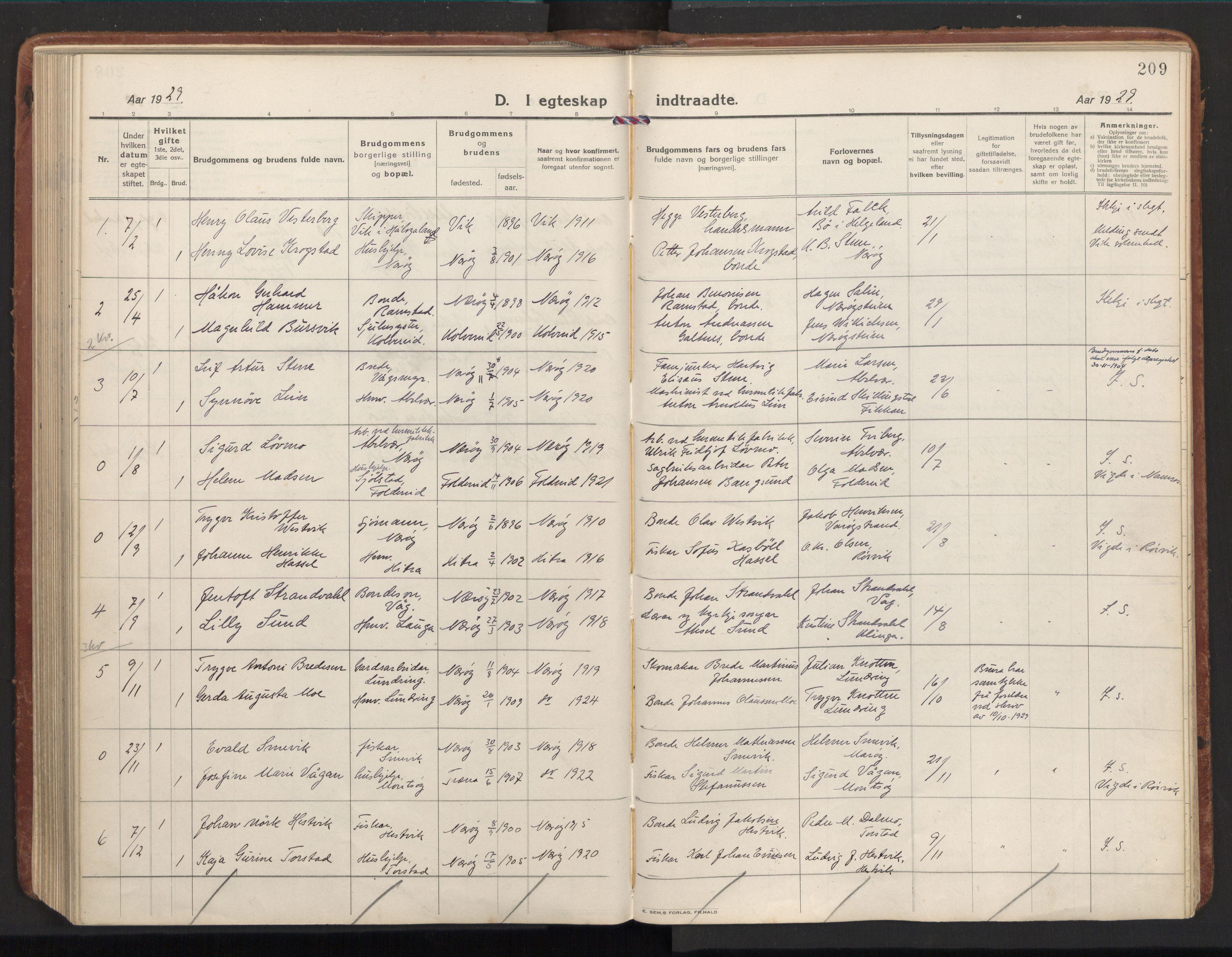 SAT, Ministerialprotokoller, klokkerbøker og fødselsregistre - Nord-Trøndelag, 784/L0678: Ministerialbok nr. 784A13, 1921-1938, s. 209