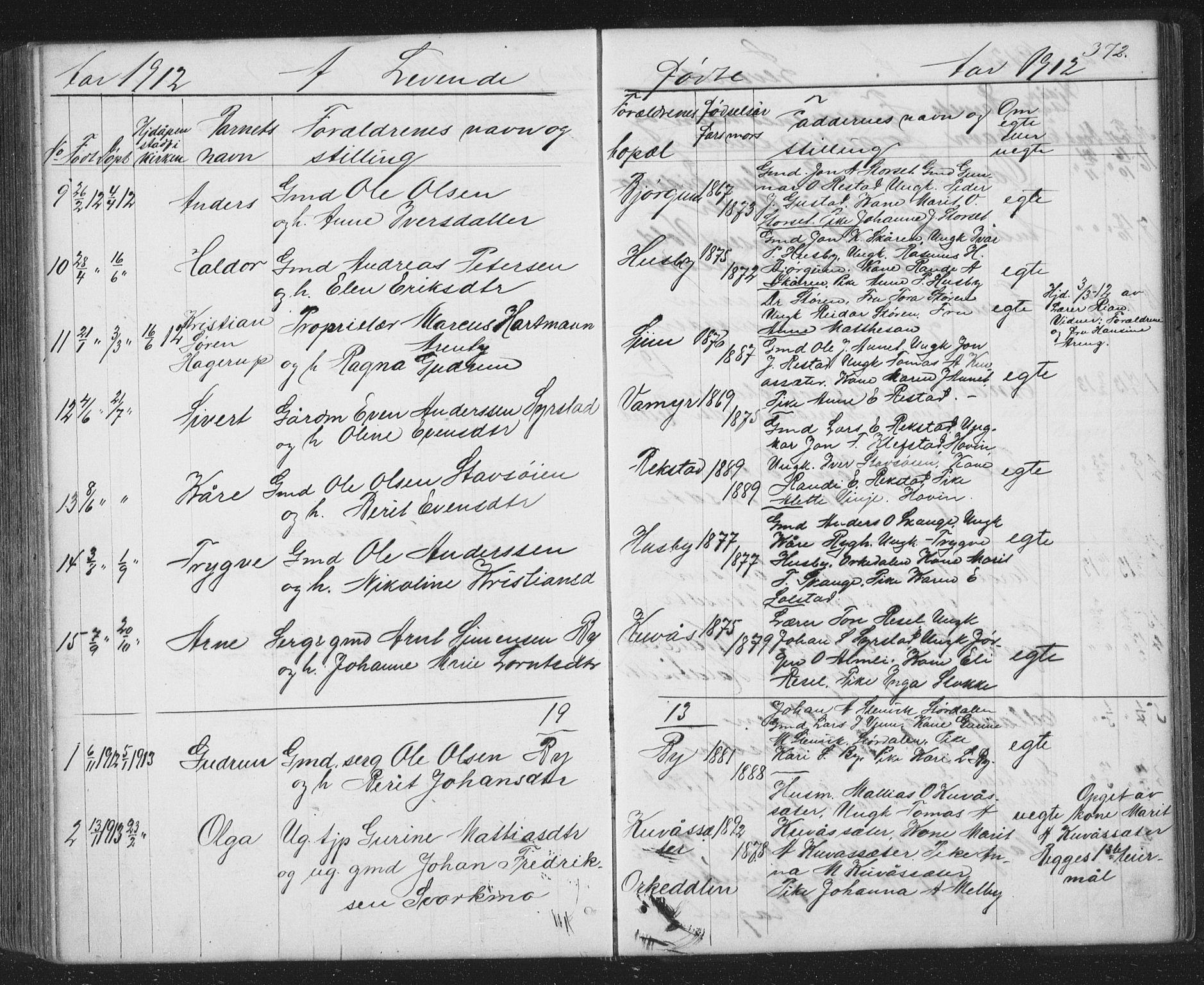 SAT, Ministerialprotokoller, klokkerbøker og fødselsregistre - Sør-Trøndelag, 667/L0798: Klokkerbok nr. 667C03, 1867-1929, s. 372