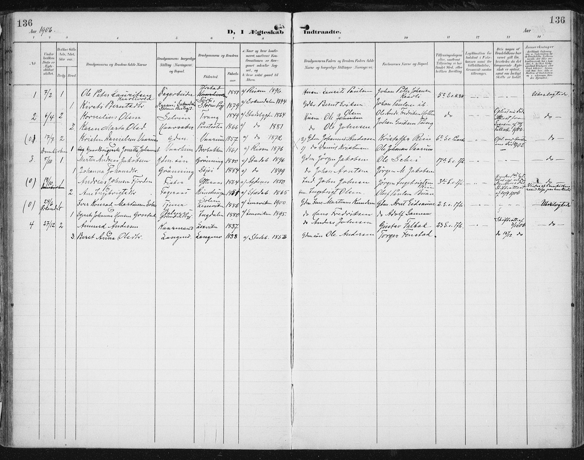 SAT, Ministerialprotokoller, klokkerbøker og fødselsregistre - Sør-Trøndelag, 646/L0616: Ministerialbok nr. 646A14, 1900-1918, s. 136