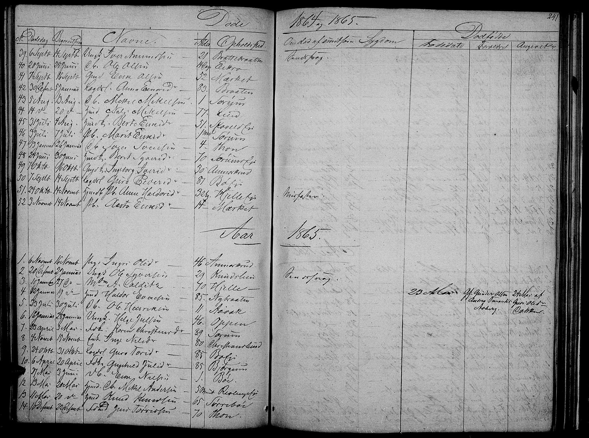 SAH, Nord-Aurdal prestekontor, Klokkerbok nr. 2, 1842-1877, s. 241