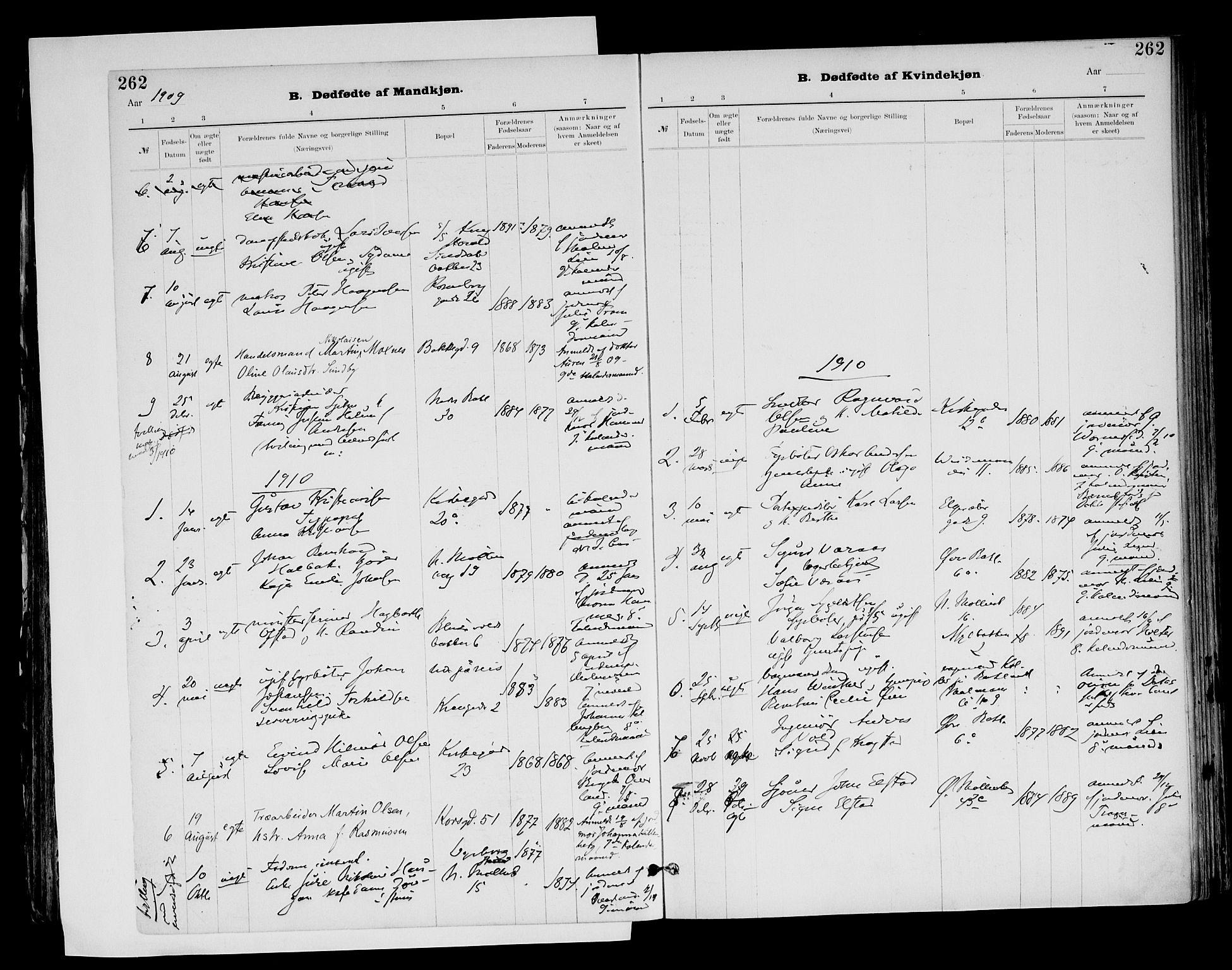 SAT, Ministerialprotokoller, klokkerbøker og fødselsregistre - Sør-Trøndelag, 604/L0203: Ministerialbok nr. 604A23, 1908-1916, s. 262