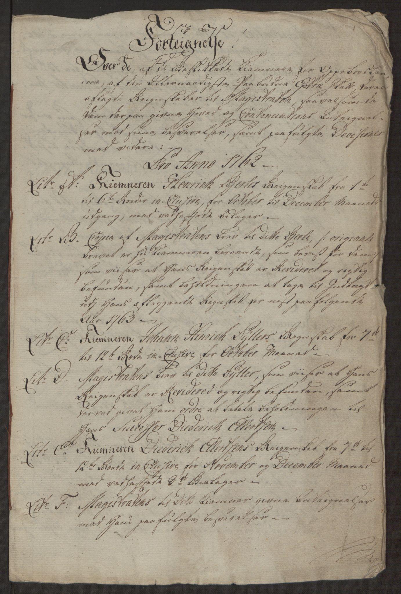 RA, Rentekammeret inntil 1814, Reviderte regnskaper, Byregnskaper, R/Rp/L0365: [P20] Kontribusjonsregnskap, 1762, s. 238