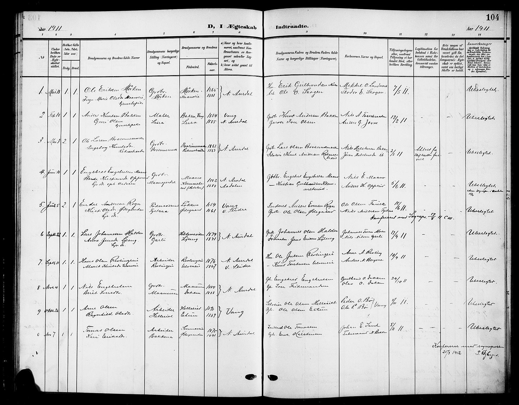 SAH, Nord-Aurdal prestekontor, Klokkerbok nr. 12, 1907-1920, s. 104