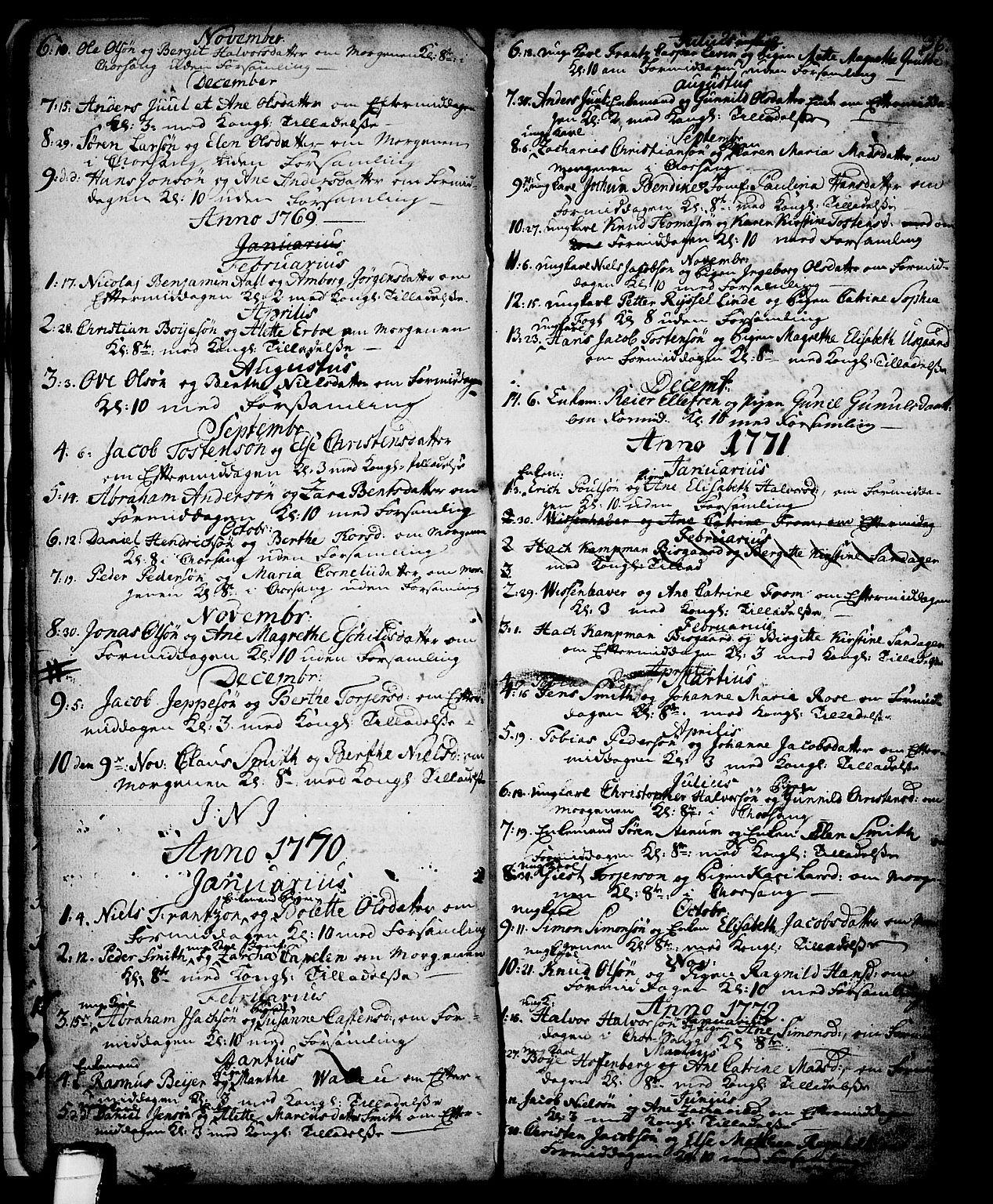 SAKO, Skien kirkebøker, G/Ga/L0001: Klokkerbok nr. 1, 1756-1791, s. 36