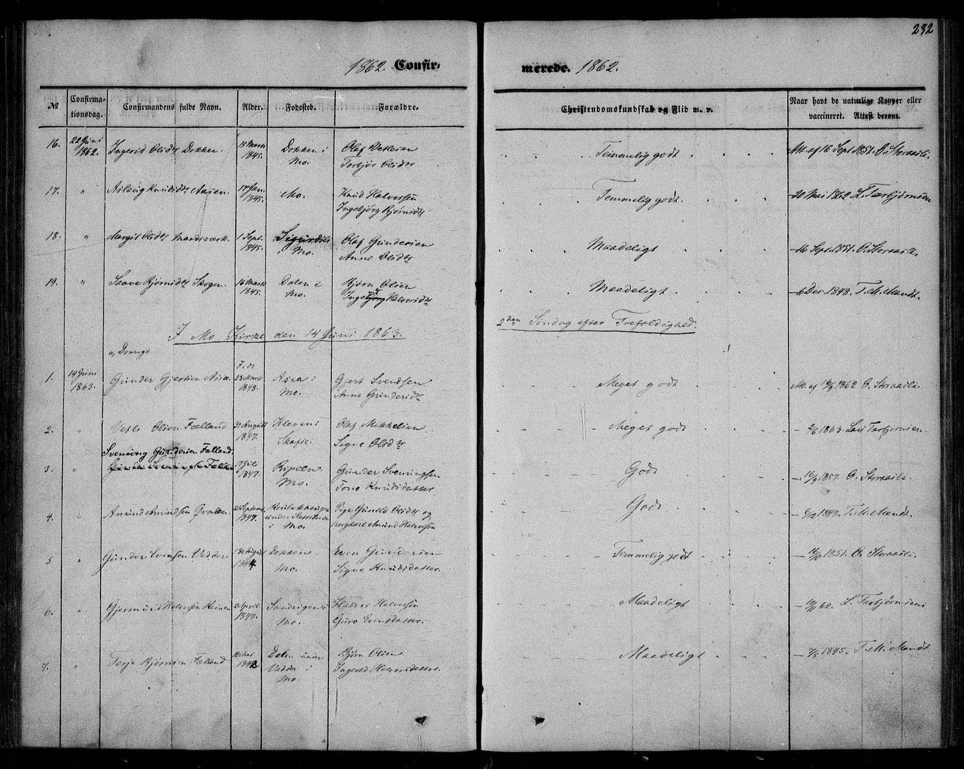 SAKO, Mo kirkebøker, F/Fa/L0005: Ministerialbok nr. I 5, 1844-1864, s. 232
