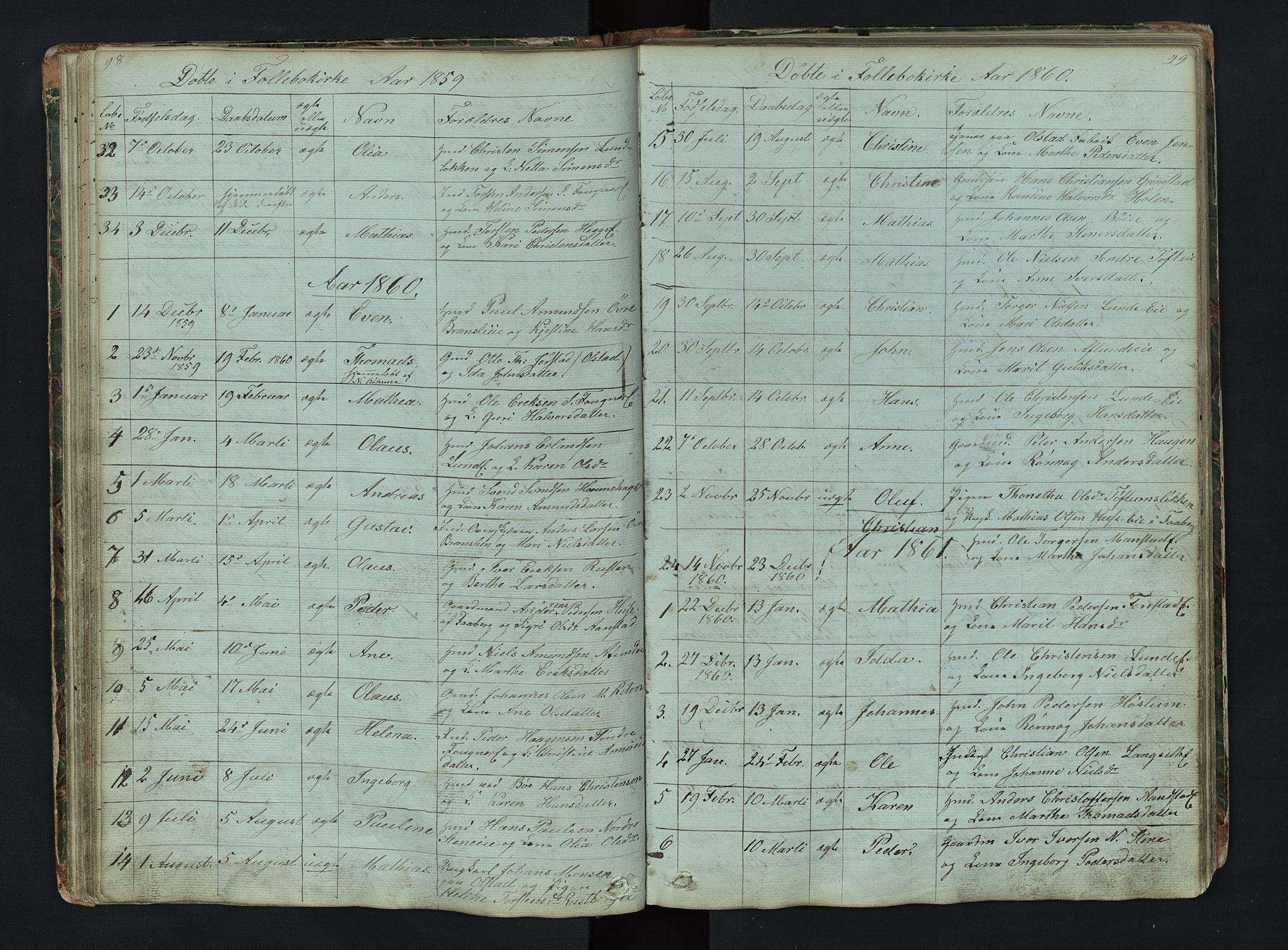 SAH, Gausdal prestekontor, Klokkerbok nr. 6, 1846-1893, s. 98-99
